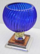 1 x BALDI 'Home Jewels' Italian Hand-crafted Artisan Coccinella Cup, In Blue, Yellow & Amber