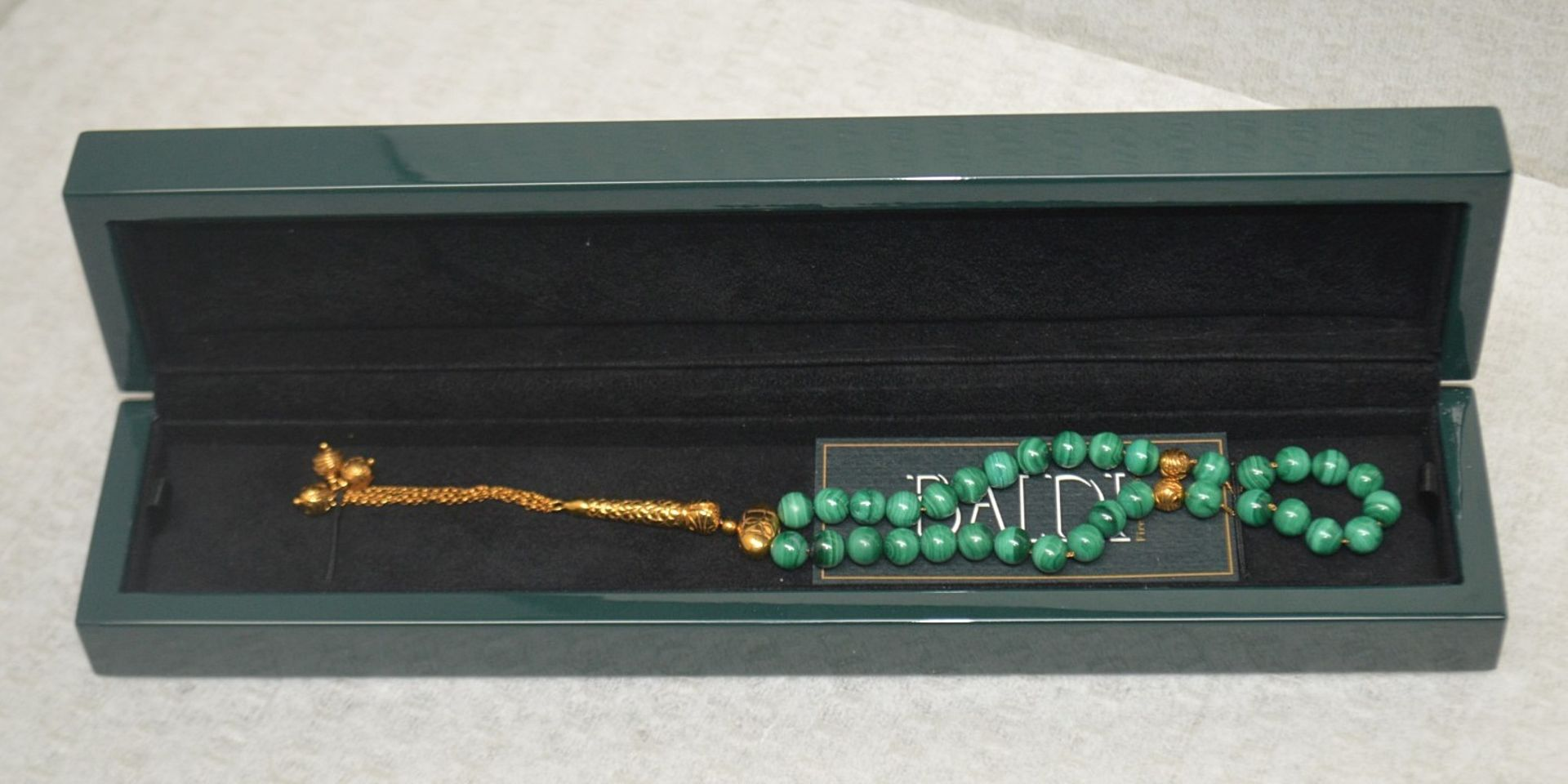 1 x BALDI 'Home Jewels' Italian Hand-crafted Artisan MISBAHA Prayer Beads In Green Malachite And