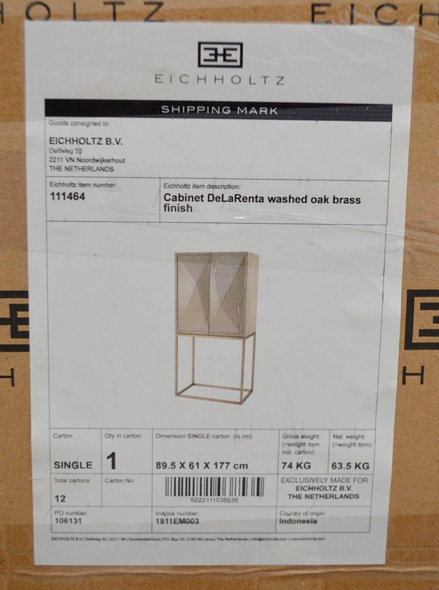 1 x EICHHOLTZ 'Delarenta' Wine Cabinet In Washed Oak And Brass - Original RRP £3,289 - Image 8 of 11