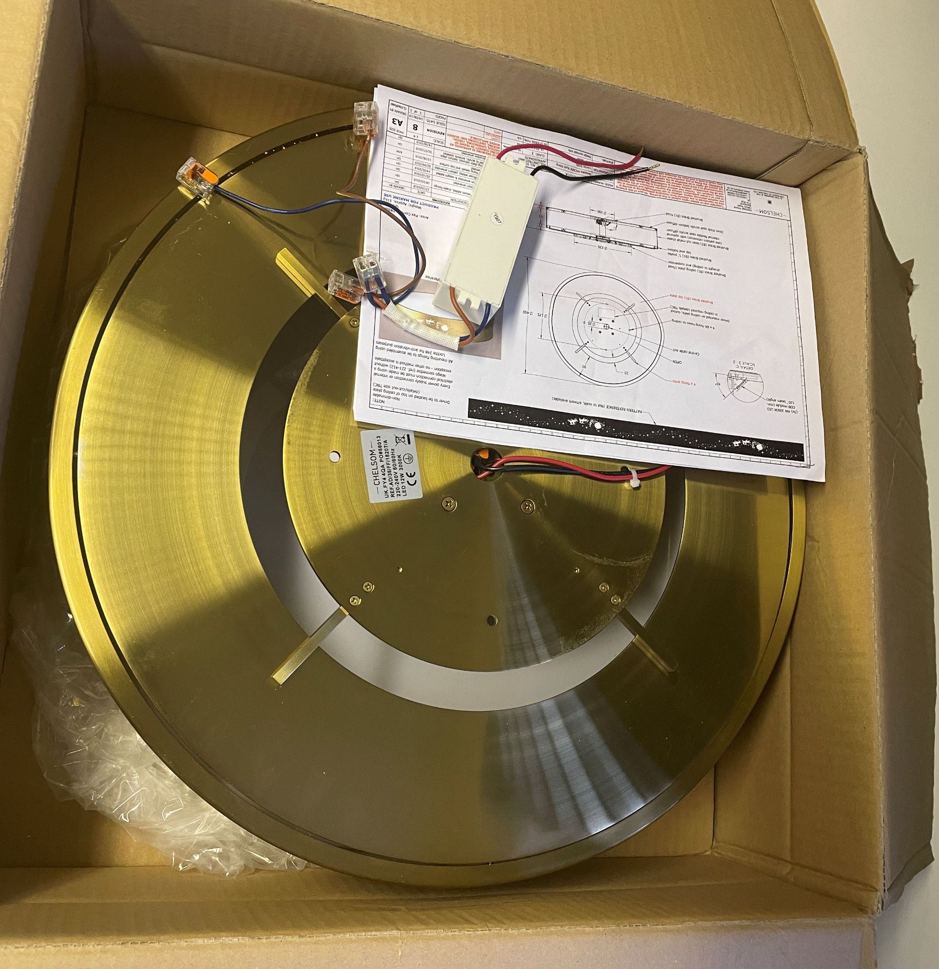 1 x Chelsom 'Disney' New Build Brushed Brass Ceiling Arcade Pendent Light Fitting - Sample we under - Image 8 of 14