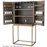 1 x EICHHOLTZ 'Delarenta' Wine Cabinet In Washed Oak And Brass - Original RRP £3,289