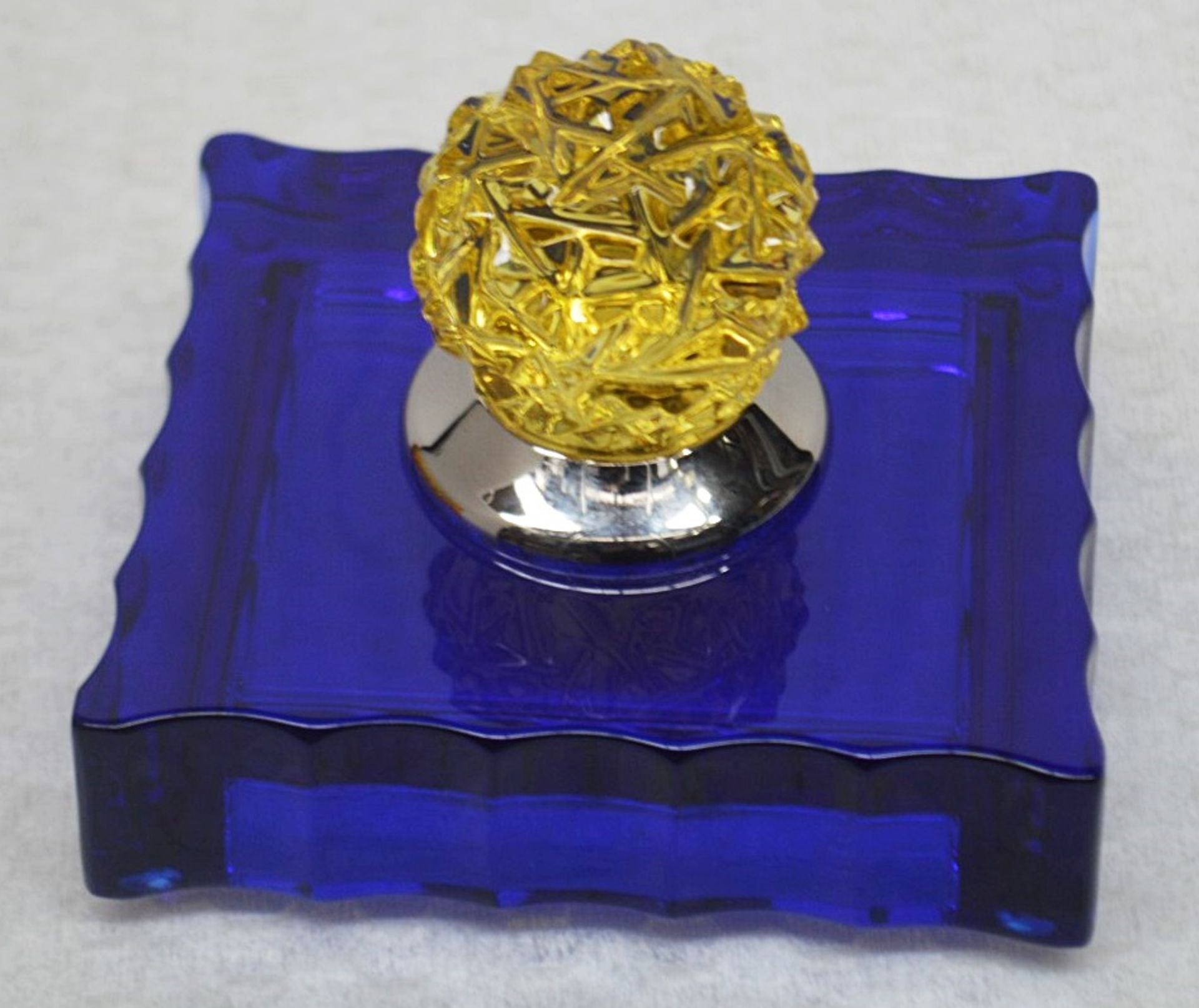 1 x BALDI 'Home Jewels' Italian Hand-crafted Artisan Crystal Box In Dark Blue / Yellow - RRP £1,015 - Image 3 of 4