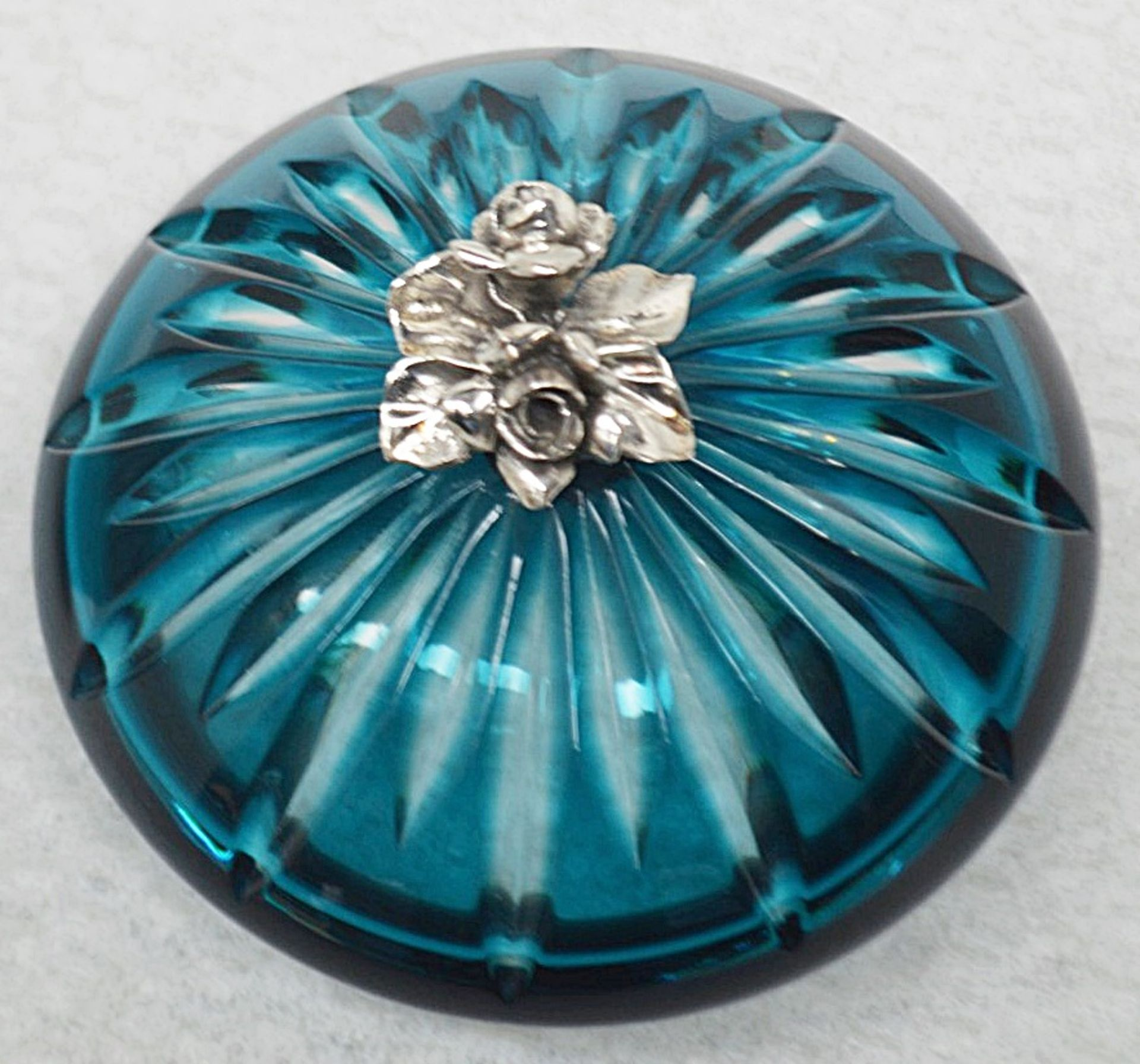 1 x BALDI 'Home Jewels' Italian Hand-crafted Artisan Crystal Coccinella Box In Turquoise - RRP £900 - Image 4 of 5