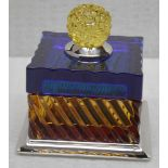 1 x BALDI 'Home Jewels' Italian Hand-crafted Artisan Crystal Box In Dark Blue / Yellow - RRP £1,015