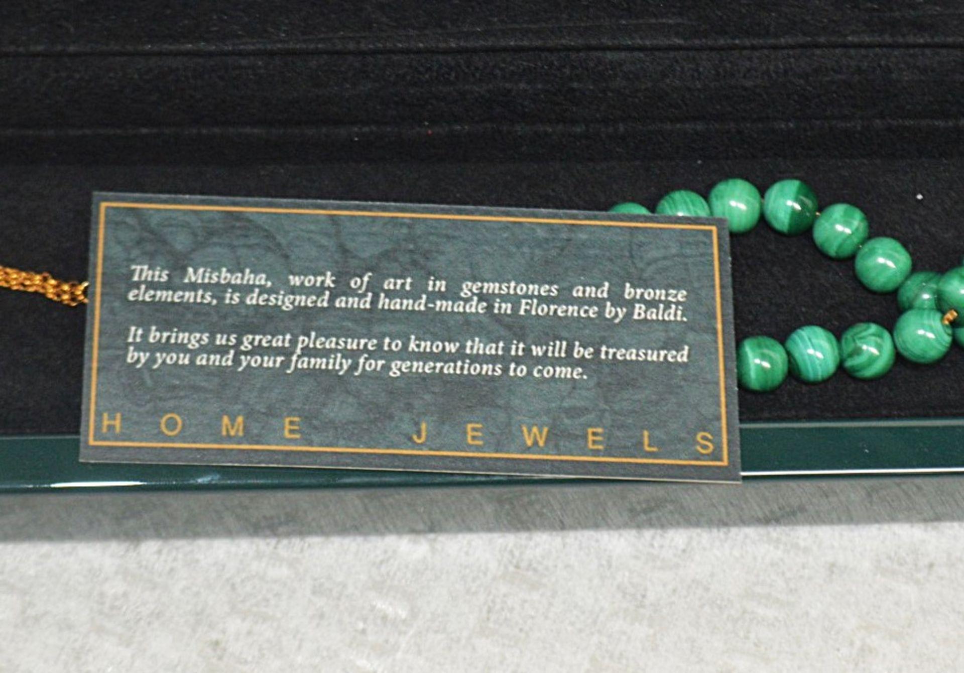 1 x BALDI 'Home Jewels' Italian Hand-crafted Artisan MISBAHA Prayer Beads In Green Malachite And - Image 4 of 5
