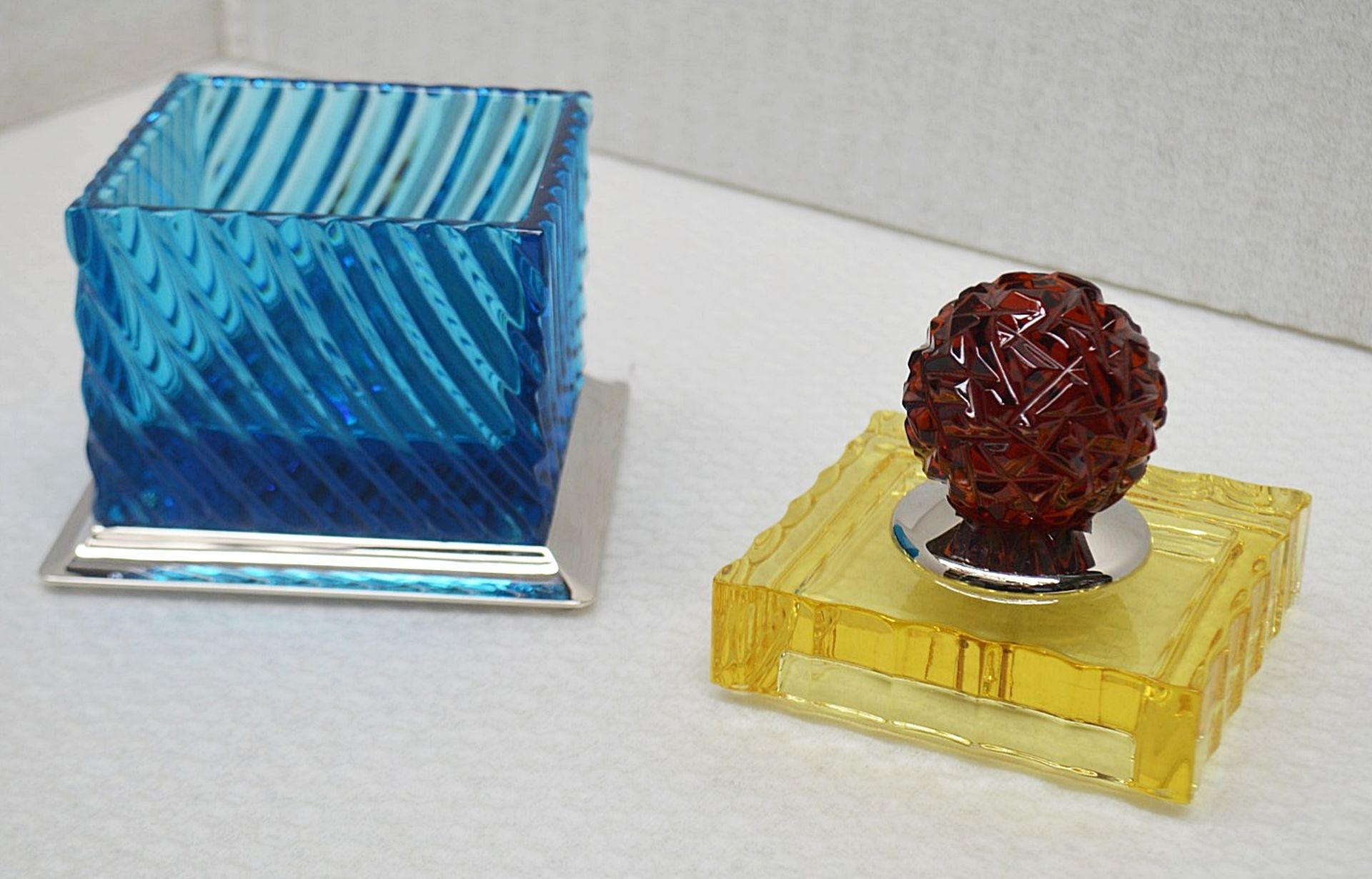 1 x BALDI 'Home Jewels' Italian Hand-crafted Artisan Crystal Box In Blue & Yellow, With A - Image 5 of 5