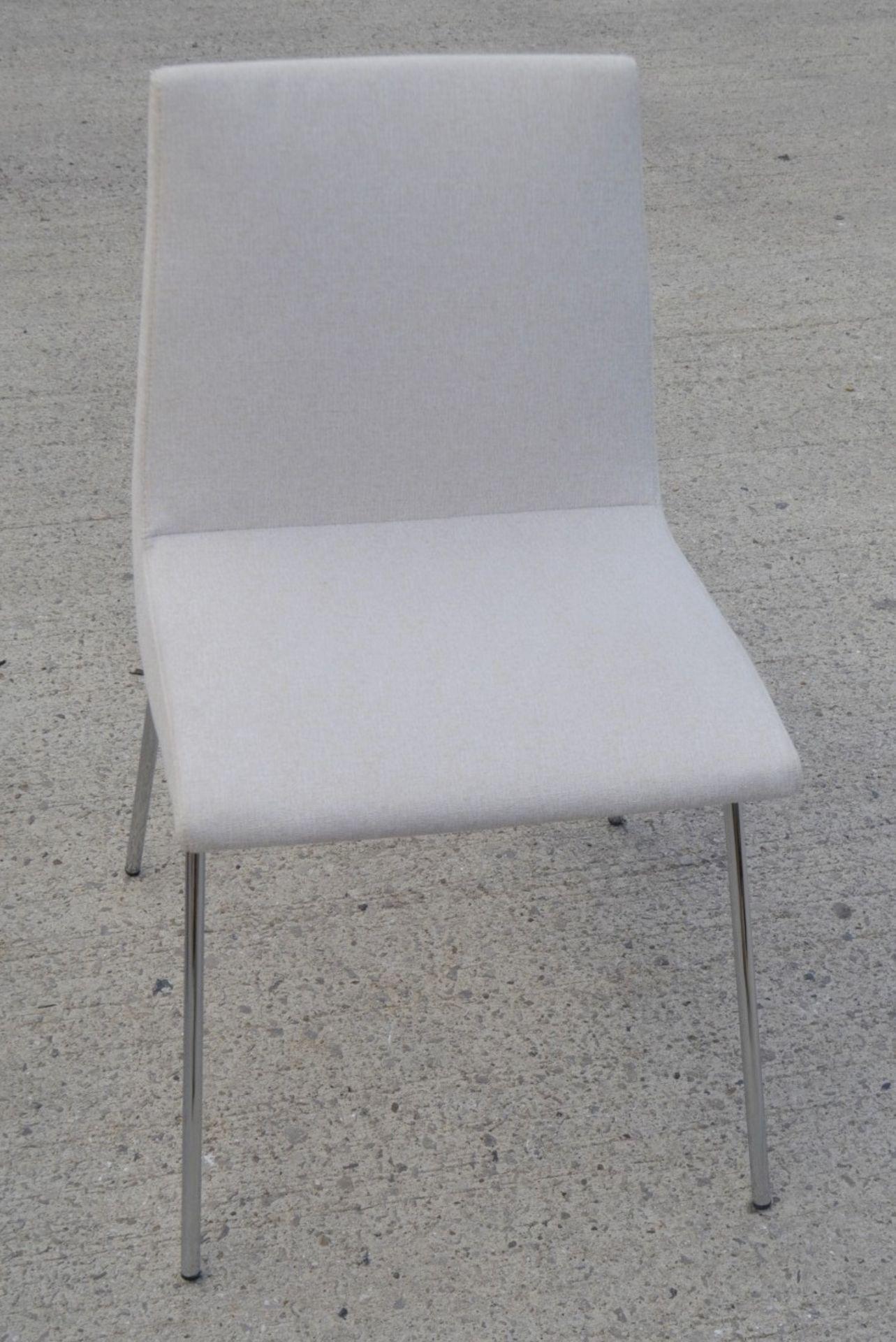 Pair Of LIGNE ROSET 'TV' Designer Dining Chairs In A Light Neutral Beige Fabric & Chromed Steel Legs - Image 9 of 9