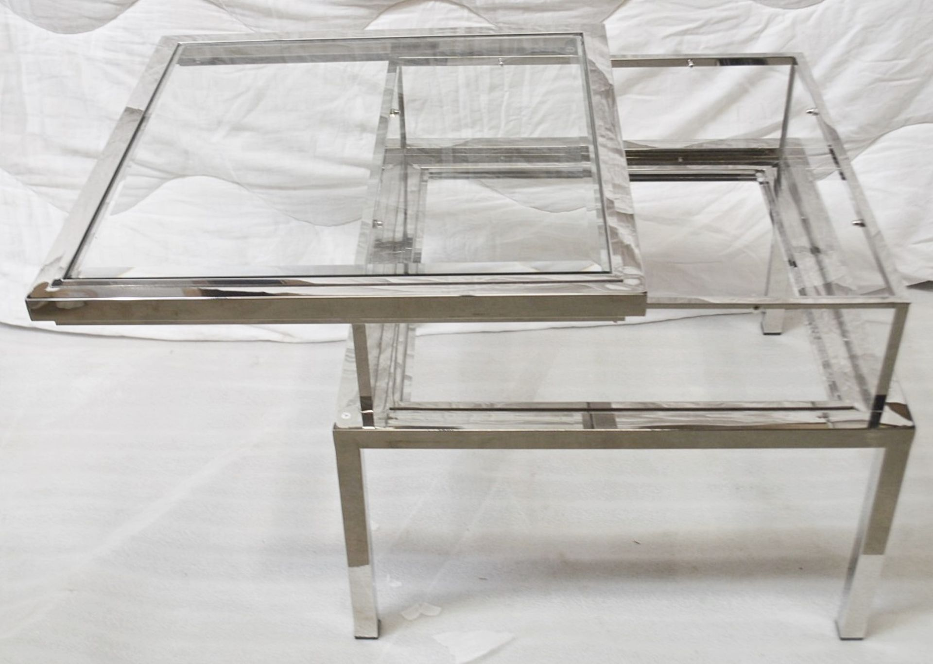 1 x EICHHOLTZ Glass Topped Side Table Harvey With A Polished Steel Frame - Original RRP £1,690 - Image 3 of 3