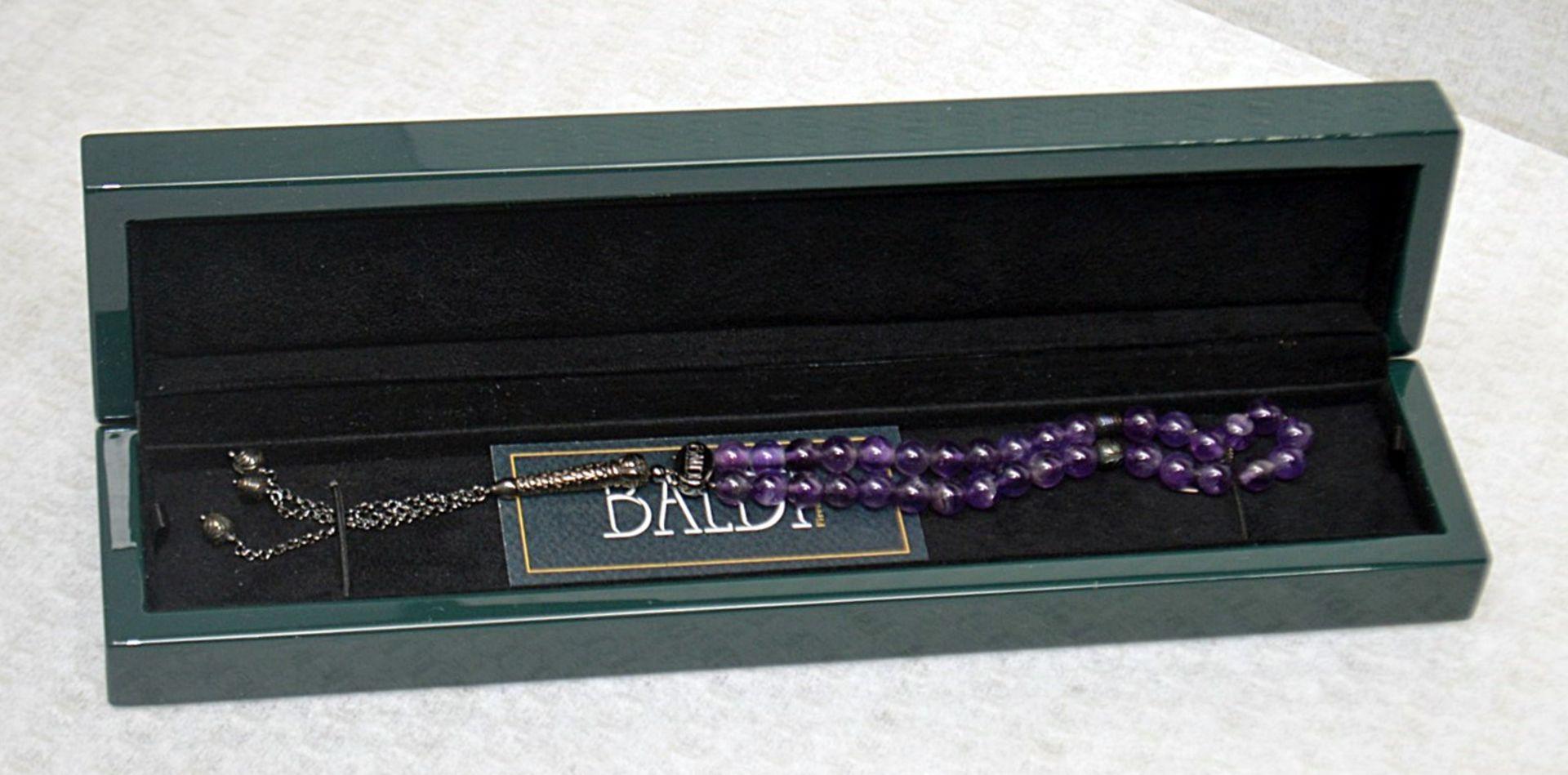 1 x BALDI 'Home Jewels' Italian Hand-crafted Artisan MISBAHA Prayer Beads In Amethyst Gemstone And