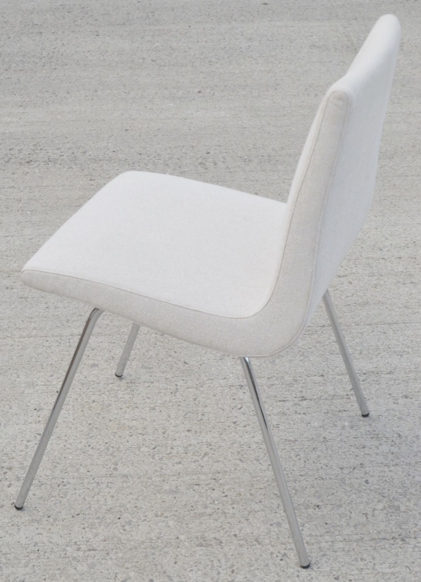 Pair Of LIGNE ROSET 'TV' Designer Dining Chairs In A Light Neutral Beige Fabric & Chromed Steel Legs - Image 2 of 9