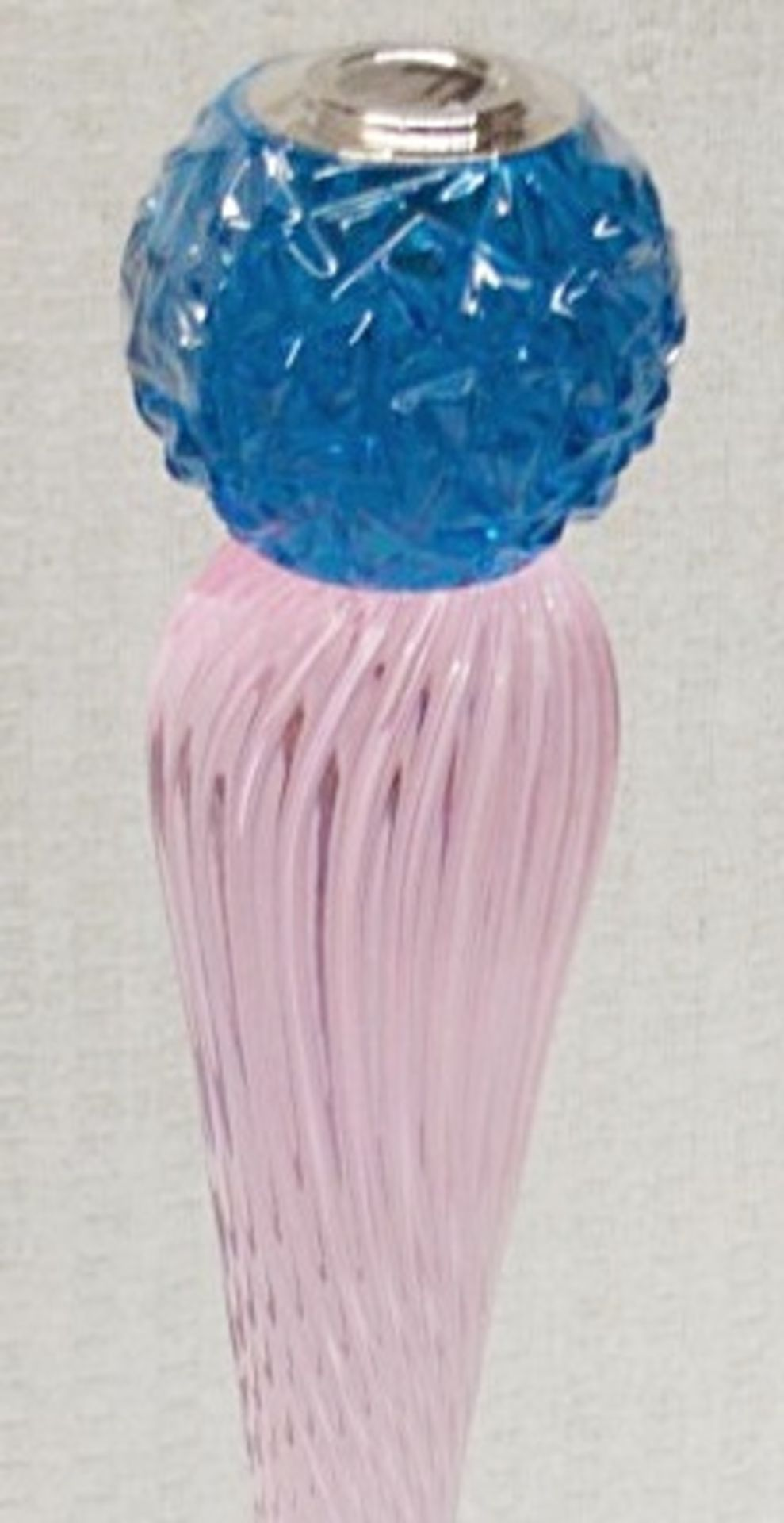 1 x BALDI 'Home Jewels' Italian Hand-crafted Artisan Candle Stick In Blue And Pink Crystal, With A - Image 2 of 3
