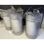 Set of 3 x Chelsom Silver Metal Ceiling Pendent with laser cut pattern cylinders 32cm x 18cm di