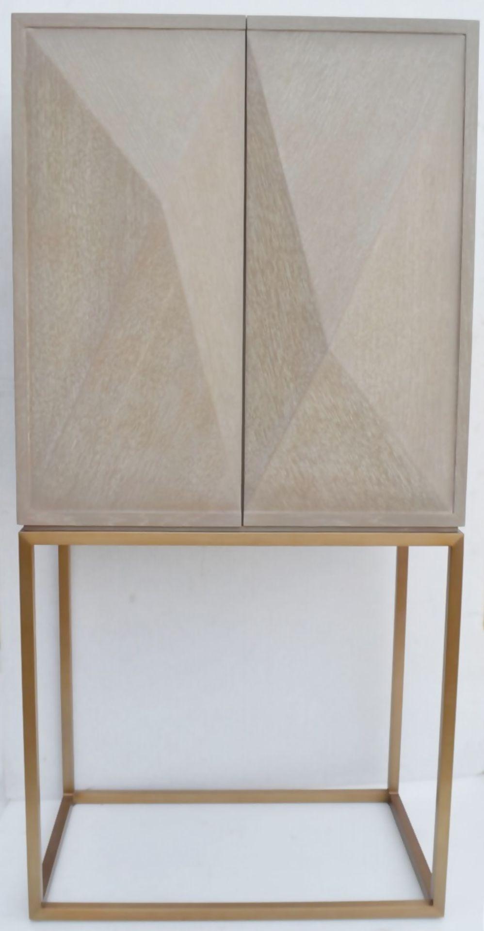 1 x EICHHOLTZ 'Delarenta' Wine Cabinet In Washed Oak And Brass - Original RRP £3,289 - Image 9 of 11