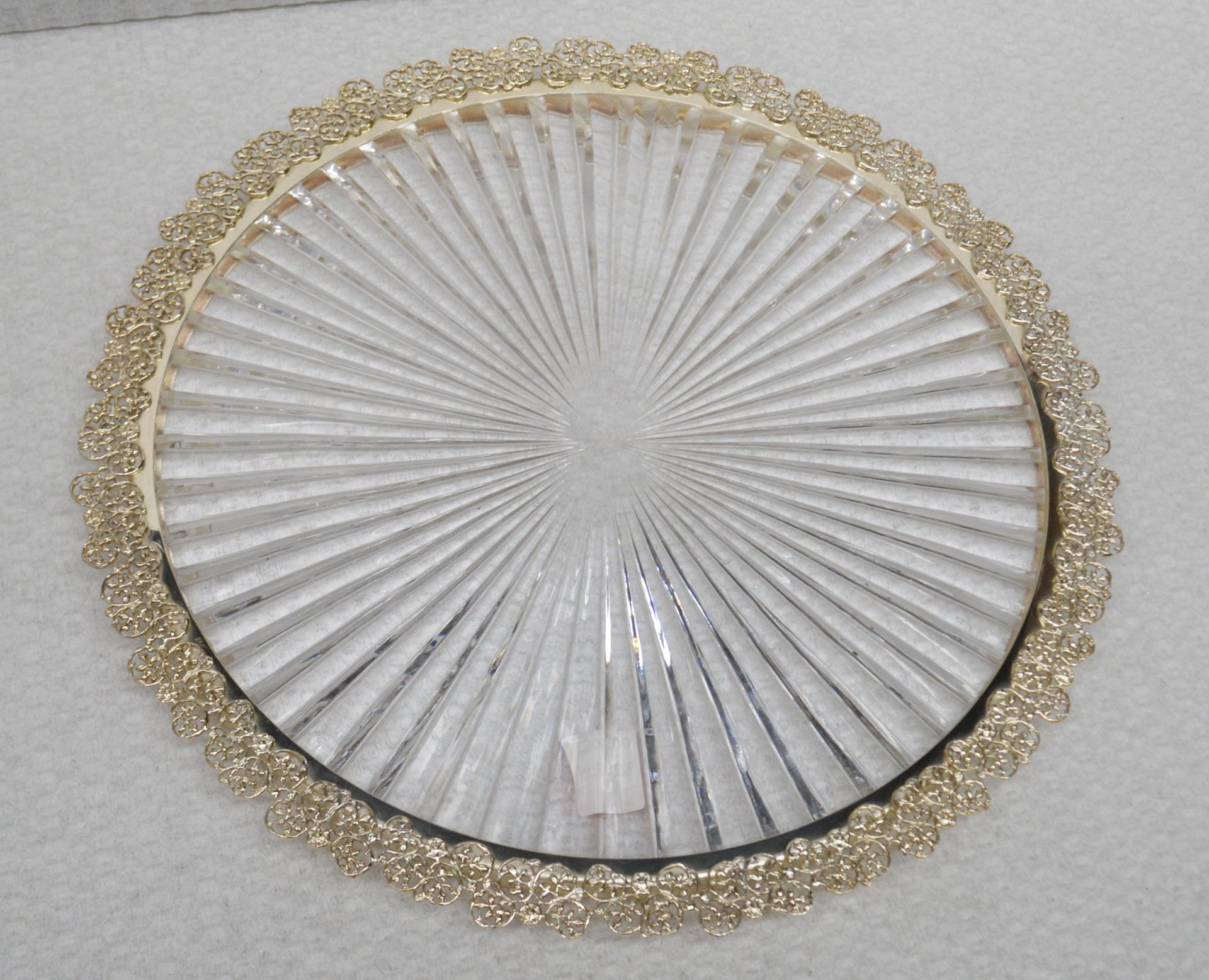 1 x BALDI 'Home Jewels' Italian Hand-crafted Artisan Clear Crystal Platter With Ornate Gold Trim -