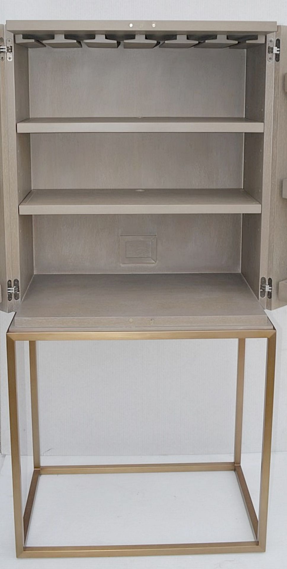 1 x EICHHOLTZ 'Delarenta' Wine Cabinet In Washed Oak And Brass - Original RRP £3,289 - Image 7 of 11