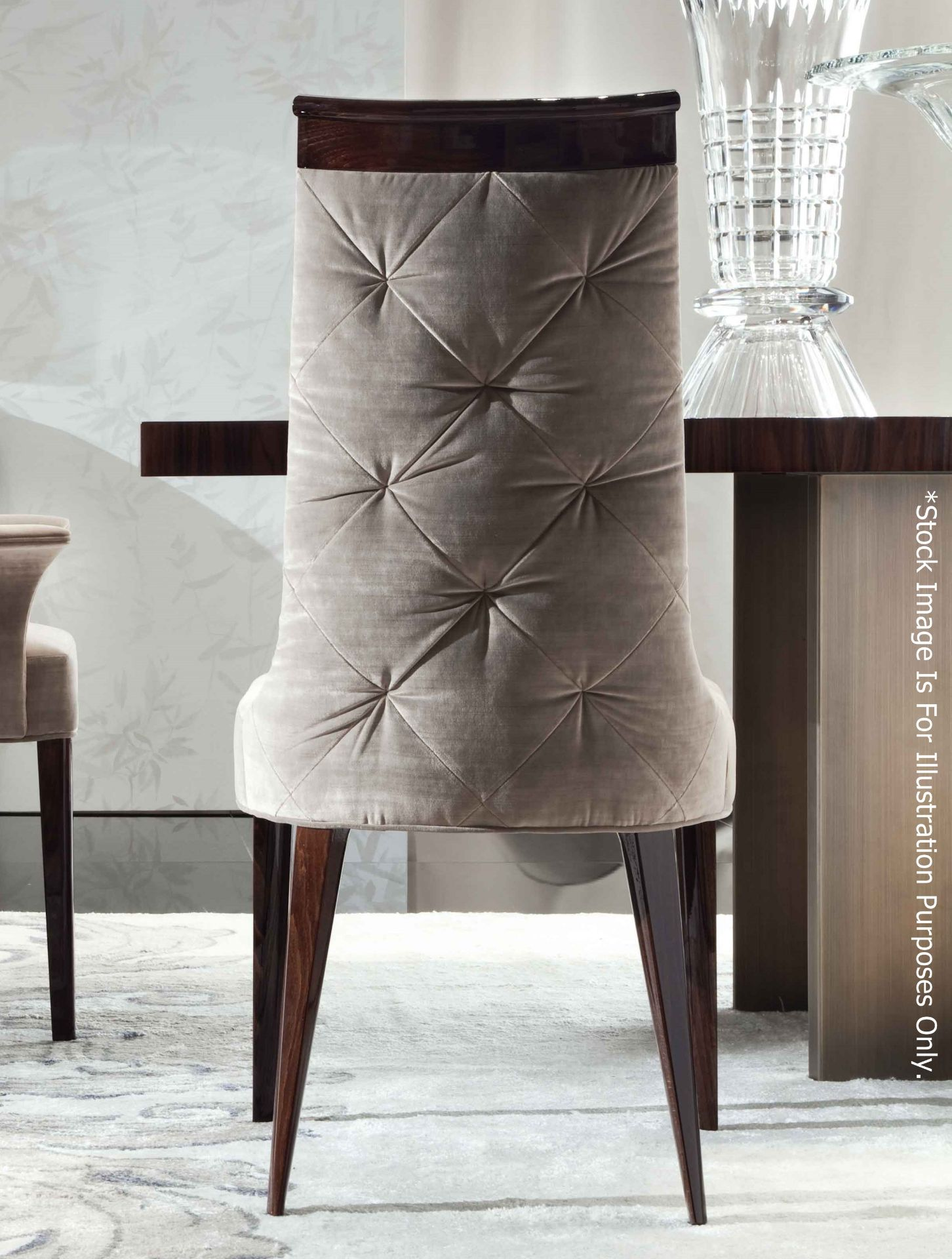 4 x GIORGIO Coliseum Velvet Upholstered Button Back Side Chairs With A Brazilian Rosewood Finish - - Image 9 of 11