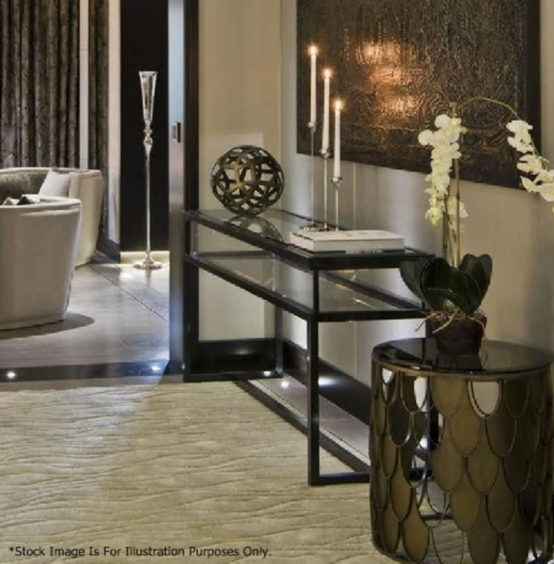 1 x EICHHOLTZ Luxury Console Table Harvey With A Sliding Glass Top And Steel Frame - RRP £3,839