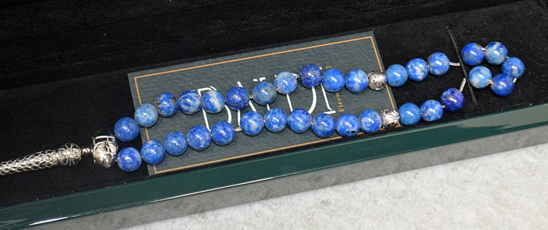 1 x BALDI 'Home Jewels' Italian Hand-crafted Artisan MISBAHA Prayer Beads In Blue Lapis Gemstone And - Image 3 of 6
