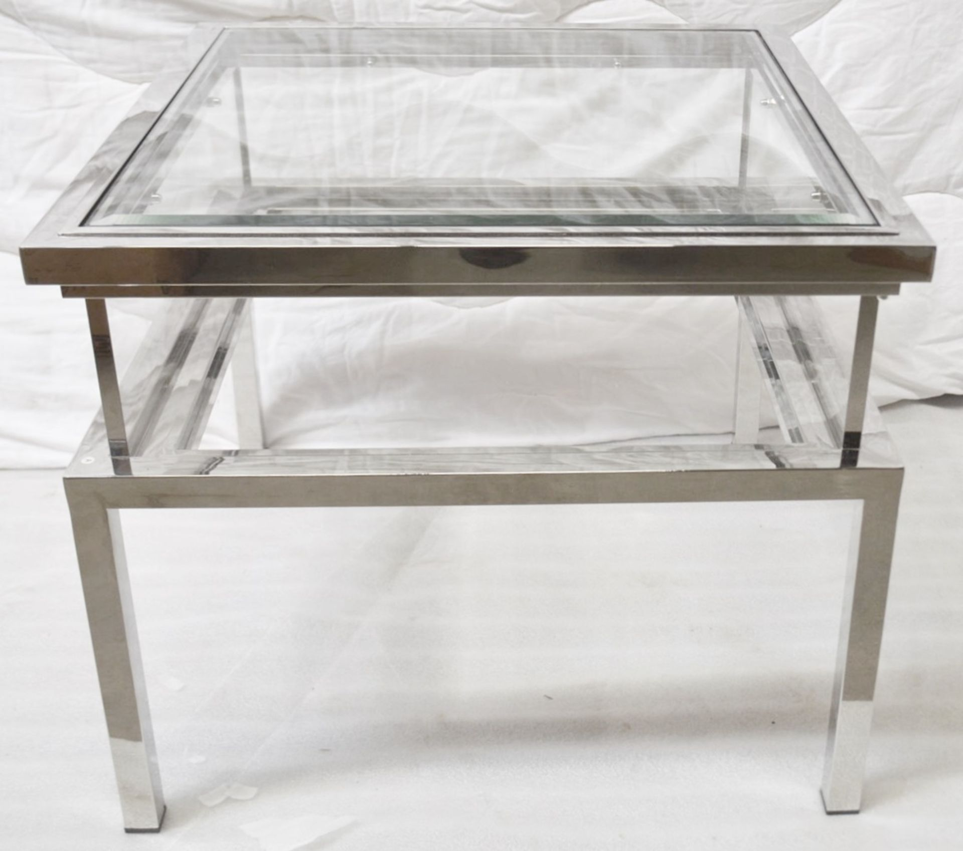 1 x EICHHOLTZ Glass Topped Side Table Harvey With A Polished Steel Frame - Original RRP £1,690 - Image 2 of 3