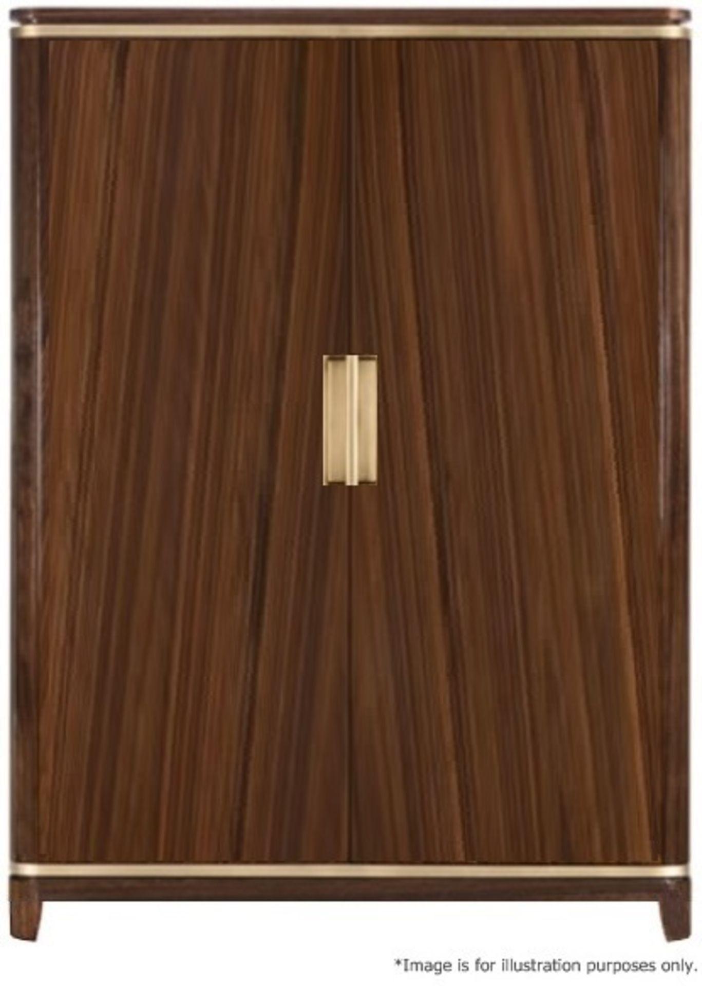 1 x FRATO Bespoke 'Siena' Wardrobe With A High Gloss Brown Wood Veneer Finish - Original RRP £18,890