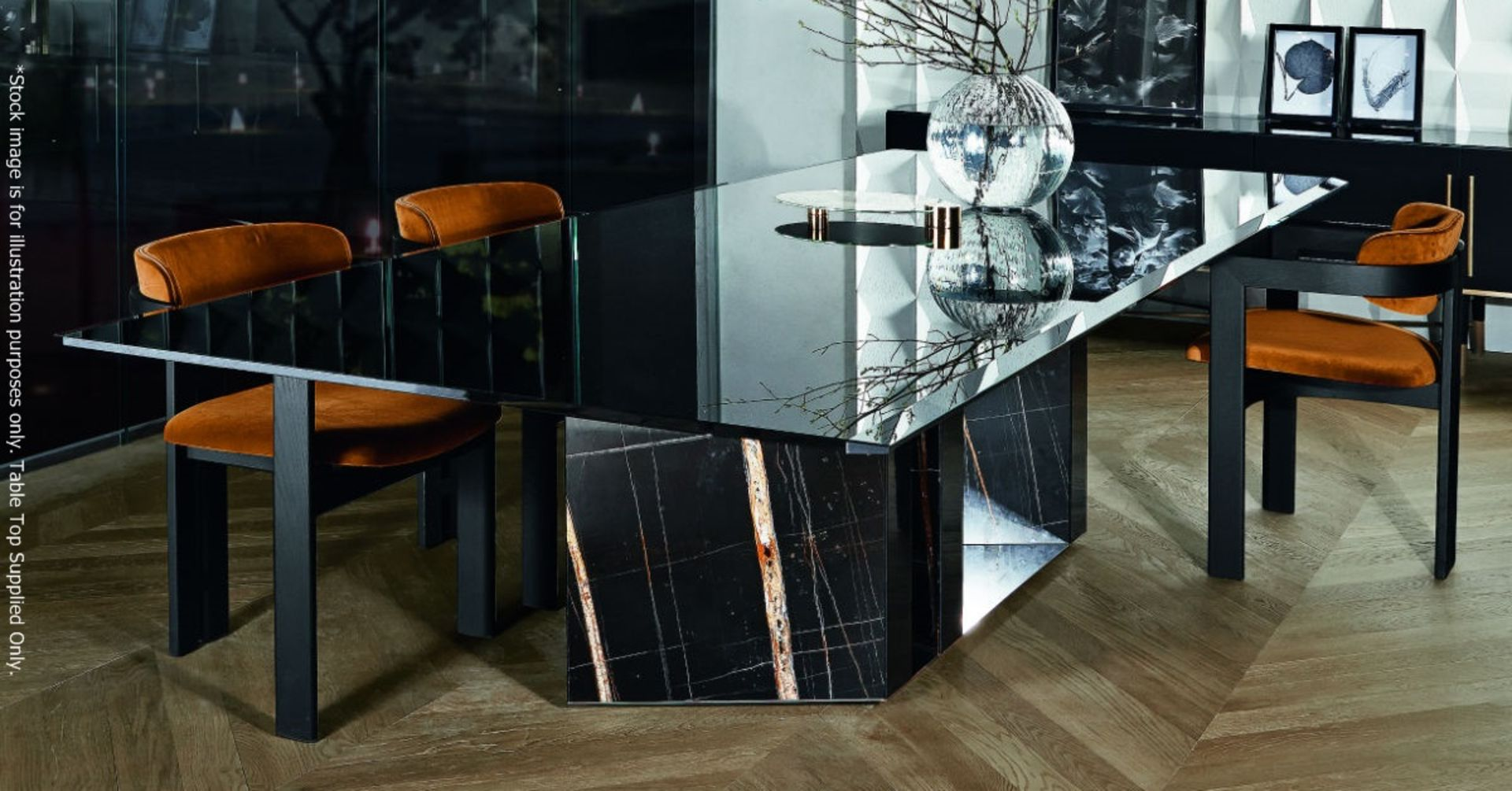 1 x GALLOTTI & RADICE 'Platinum' Italian Made Tinted Glass Table Top *No Base* - Dimensions: To