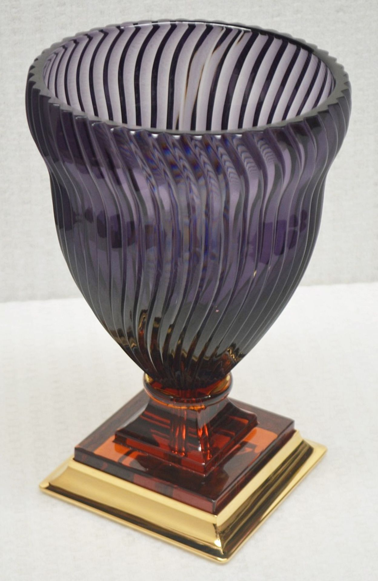 1 x BALDI 'Home Jewels' Italian Hand-crafted Artisan GHIAHDA VASE In Violet Crystal - RRP £1,925