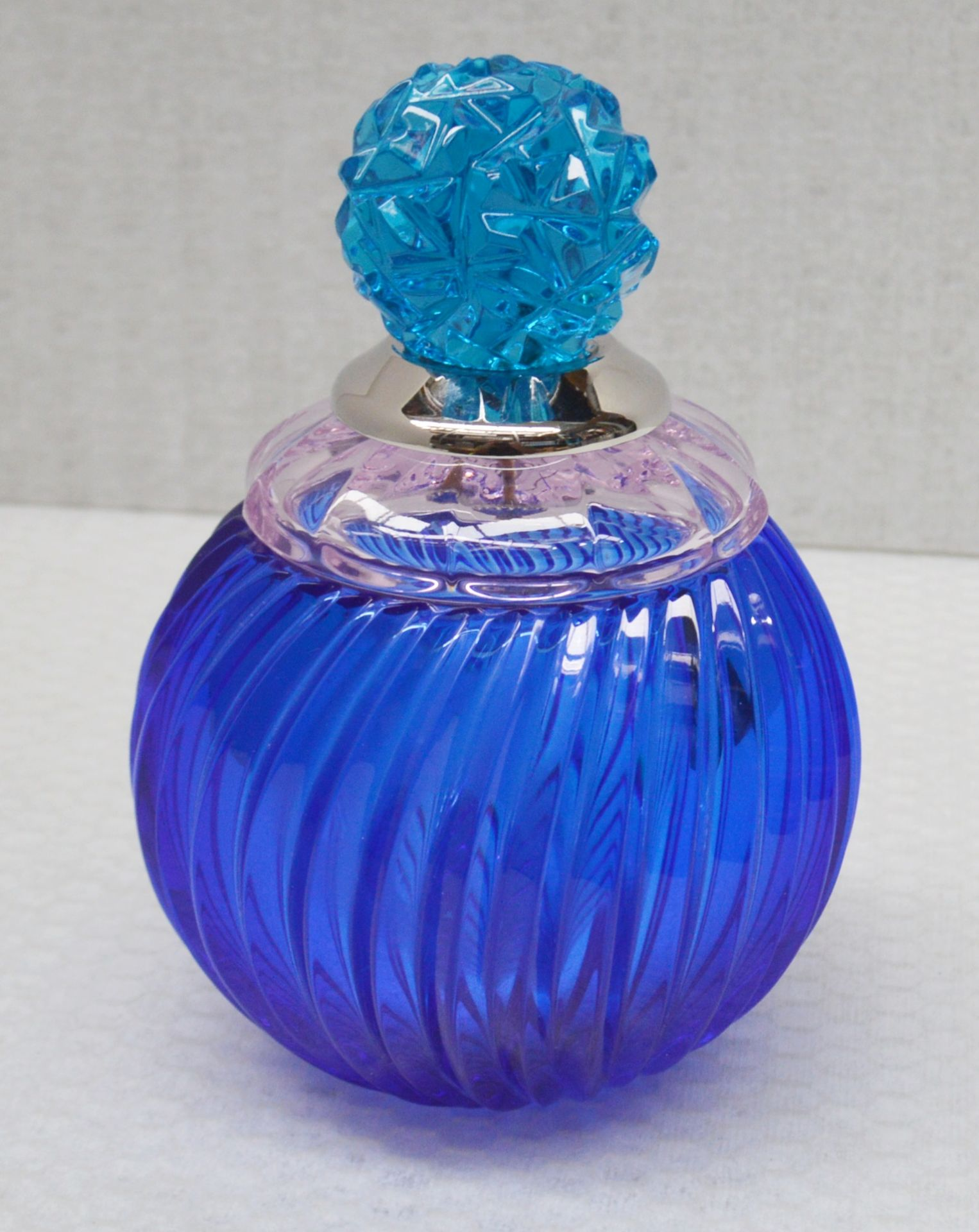 1 x BALDI 'Home Jewels' Italian Hand-crafted Artisan Small Coccinella Jar In Blue And Pink Crystal