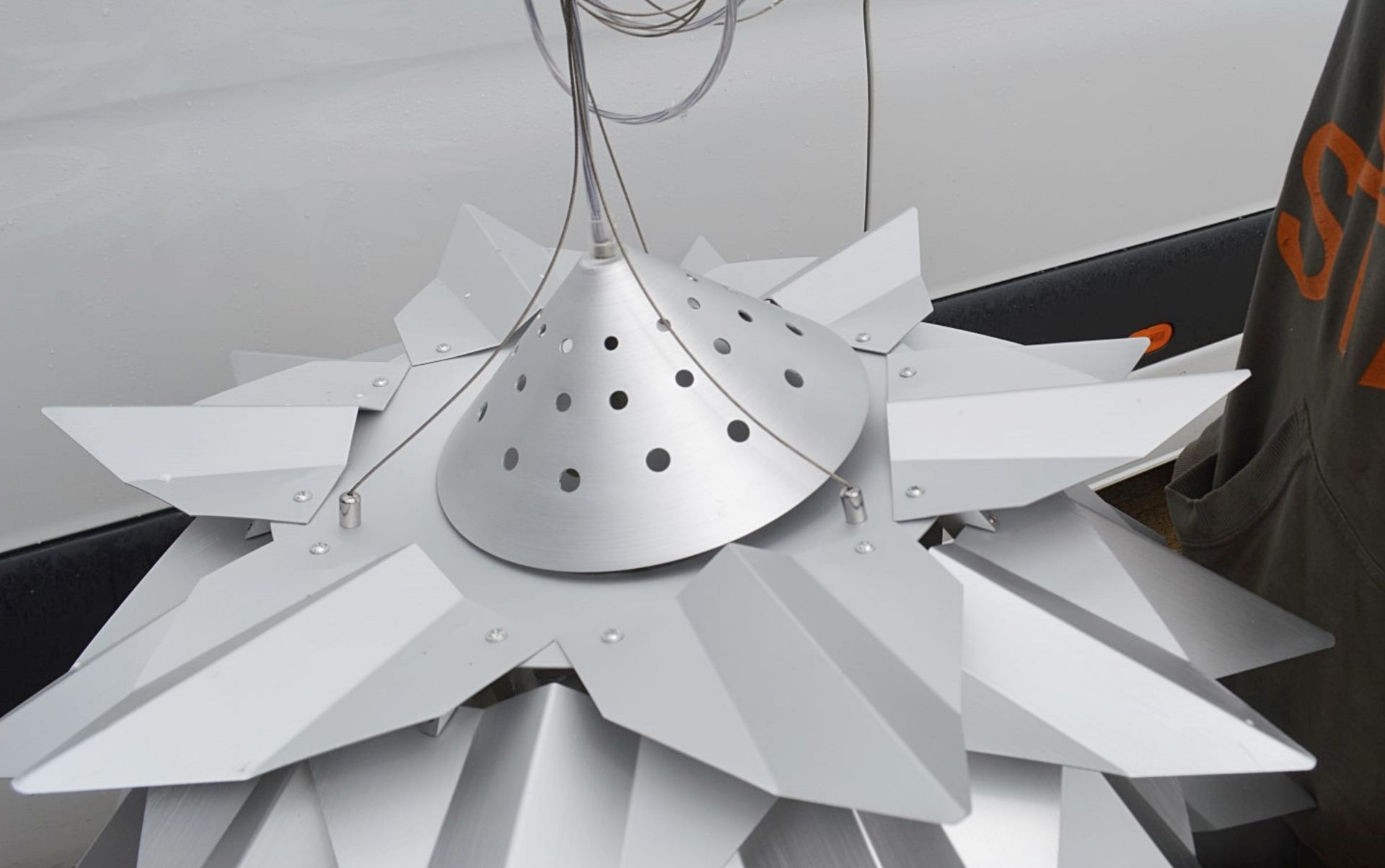 1 x 'Comosus' Statement Ceiling Pendant Light In Aluminium With A Brushed Silver Finish - Image 2 of 6