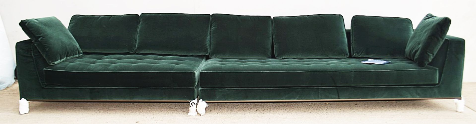 2 x B&B Italia MAXALTO Luxury Sofa Sections Both Upholstered In Rich Dark Green Velvet - RRP £7,248 - Image 5 of 13