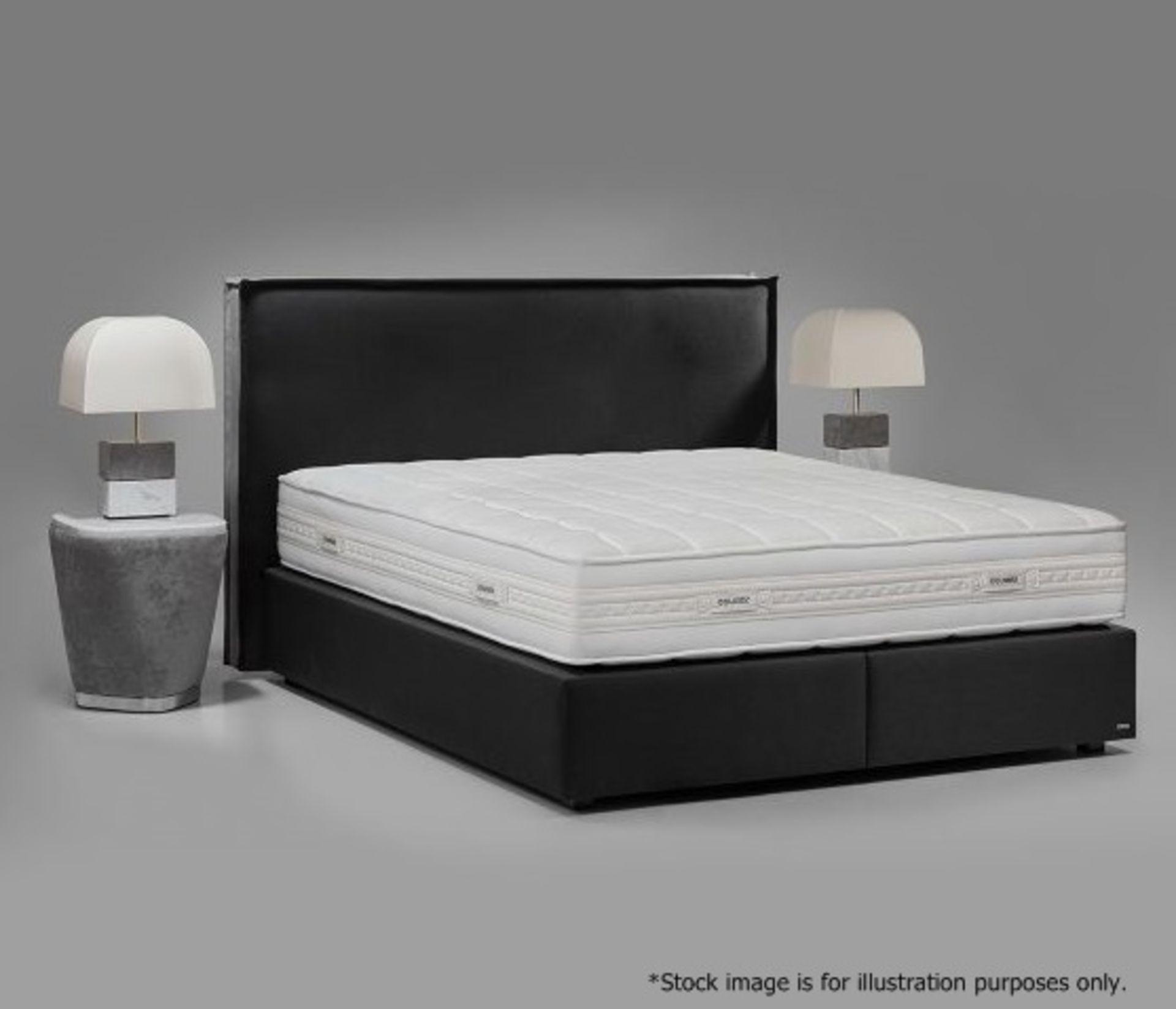 1 x COLUNEX 'Elite' Super Kingsize Divan Bed Base Upholstered In A Grey Leather - RRP £3,008