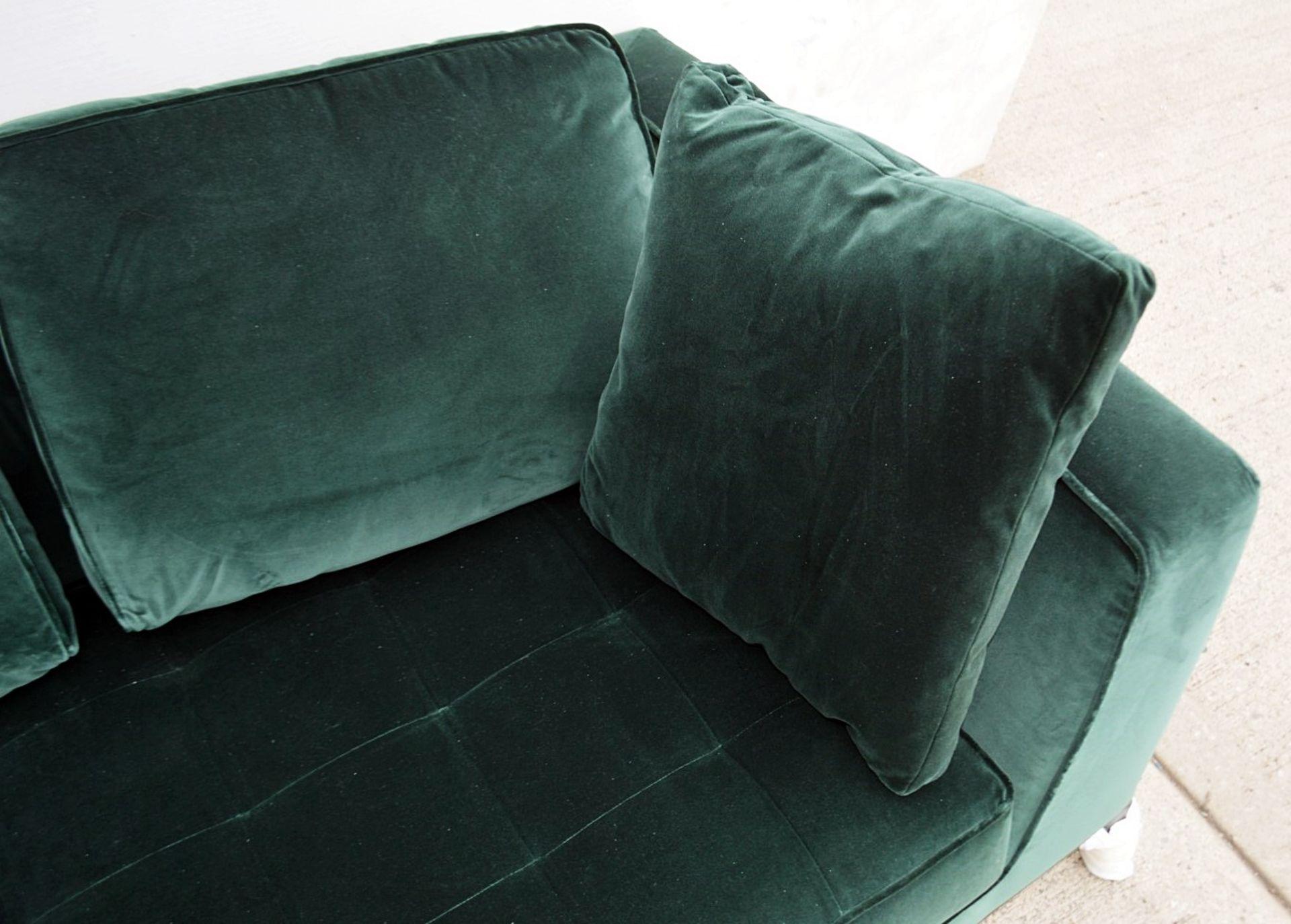 2 x B&B Italia MAXALTO Luxury Sofa Sections Both Upholstered In Rich Dark Green Velvet - RRP £7,248 - Image 2 of 13