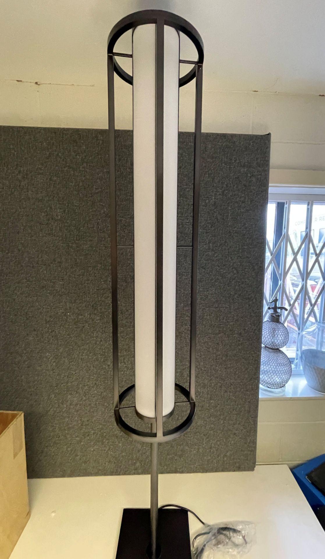 1 x Chelsom Art Deco Style Floor Lamp in Black/Bronze Height 161cm x 30cm Diameter - Ref: CHL197 - - Image 3 of 10