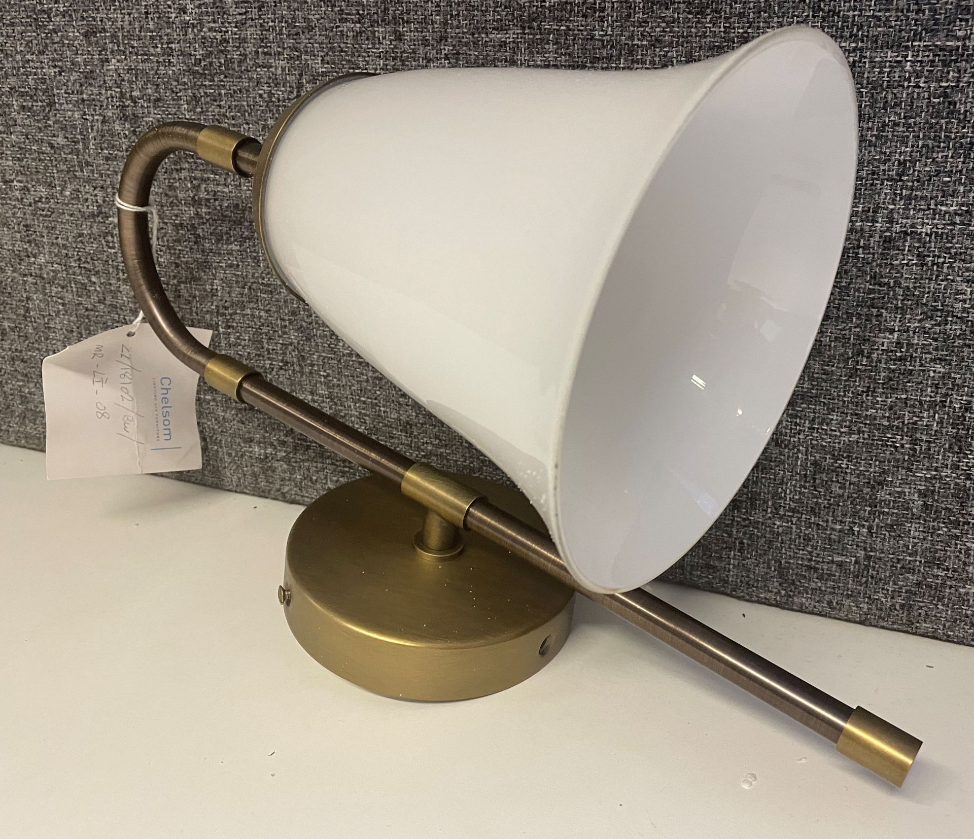 1 x Chelsom brushed brass and bronze Wall Light (height 37cm x depth 24cm) with smoked white glass