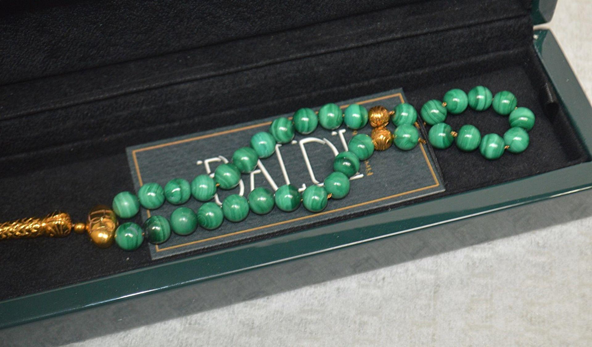 1 x BALDI 'Home Jewels' Italian Hand-crafted Artisan MISBAHA Prayer Beads In Green Malachite And - Image 3 of 5