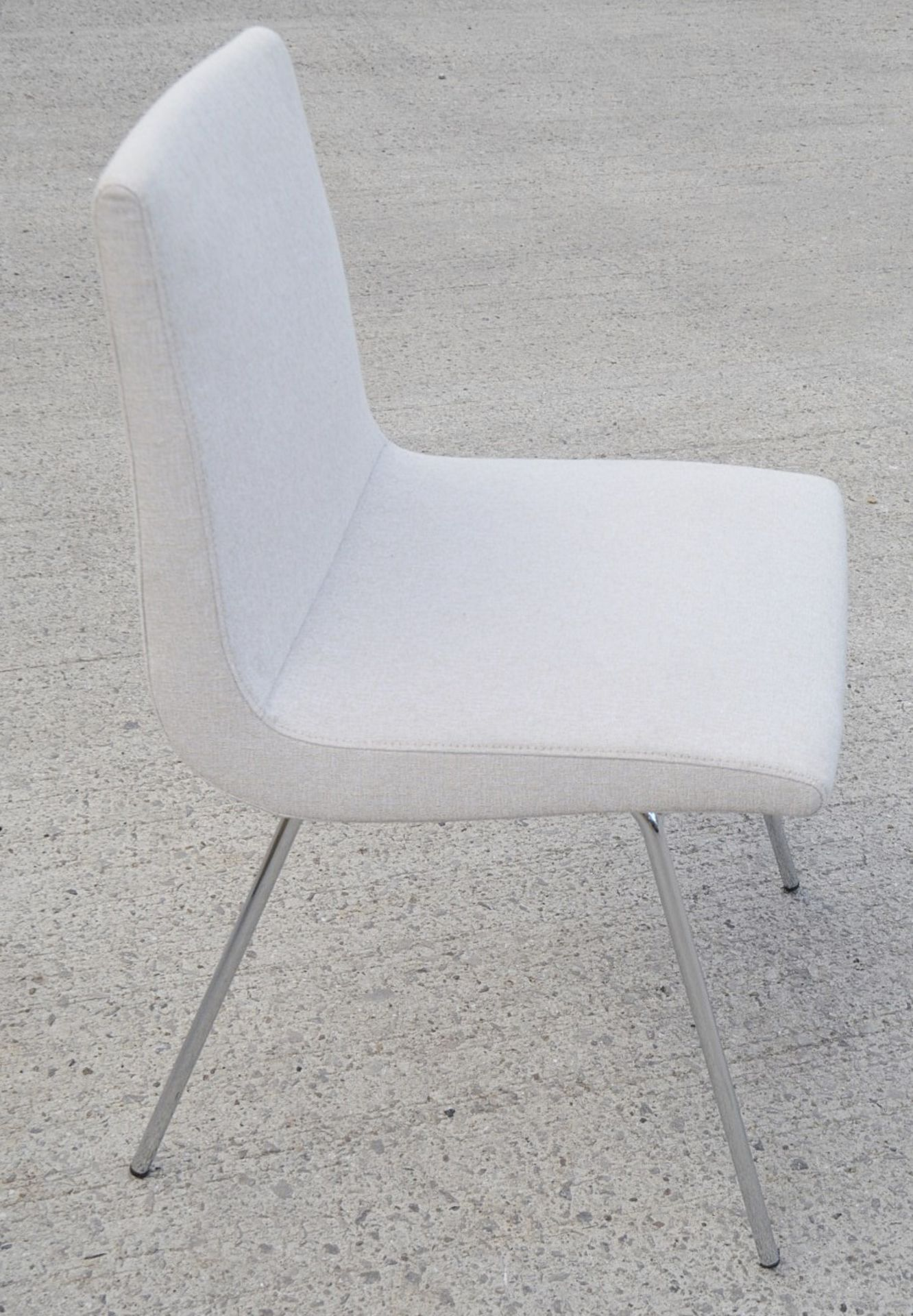 Pair Of LIGNE ROSET 'TV' Designer Dining Chairs In A Light Neutral Beige Fabric & Chromed Steel Legs - Image 5 of 9