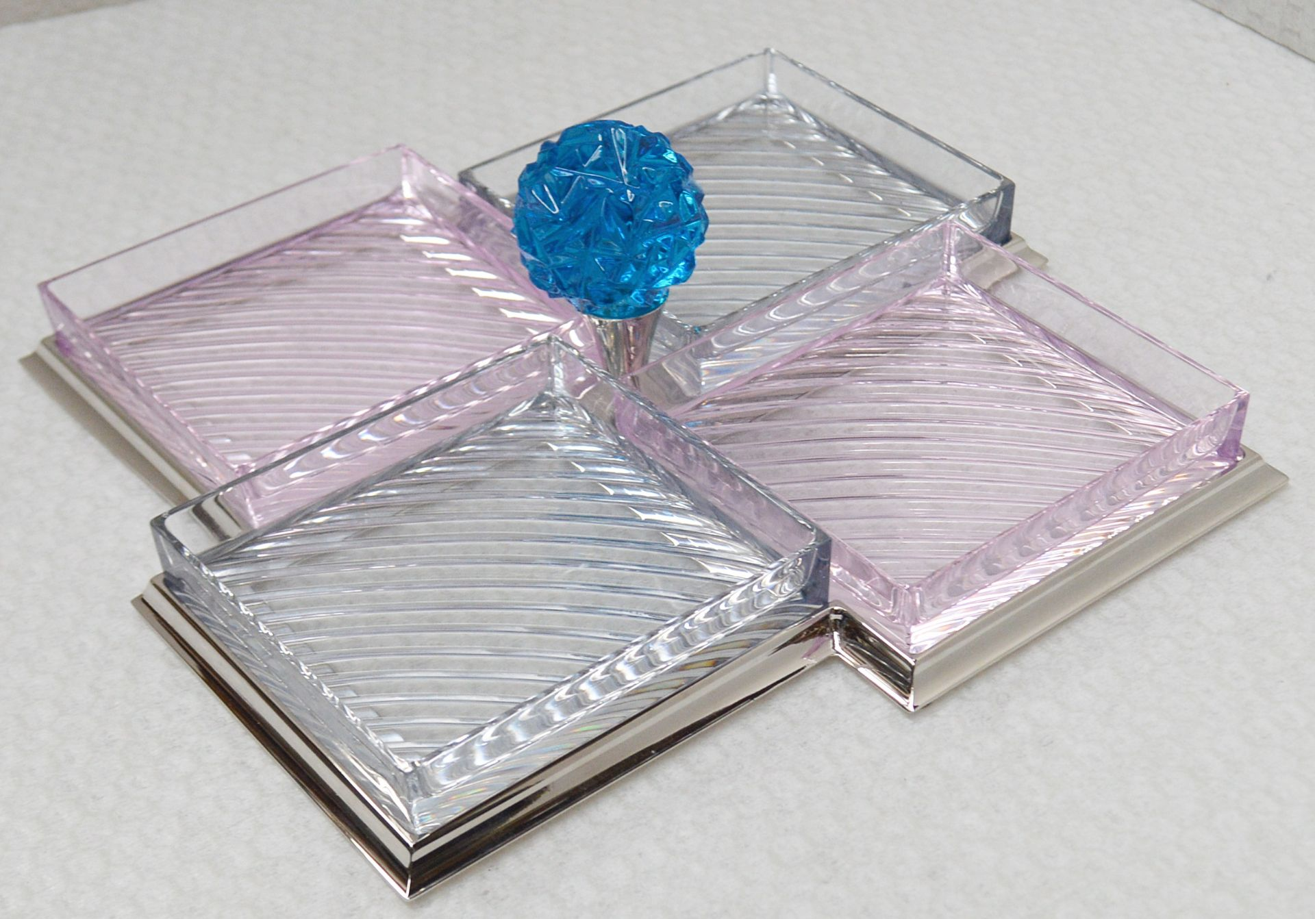 1 x BALDI 'Home Jewels' Italian Hand-crafted Artisan Glass 4-Dish Serving Trays In Smoke And Pink - Image 2 of 3