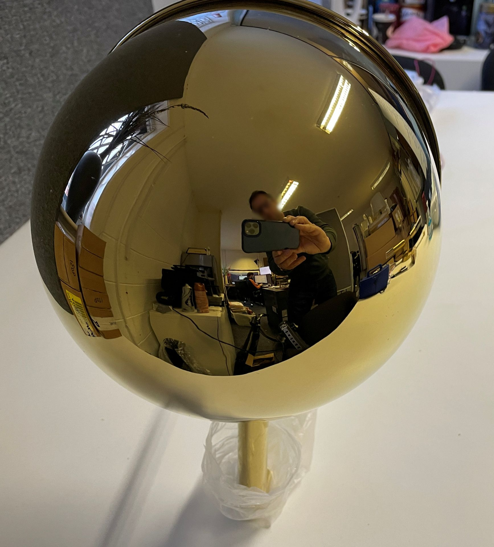 1 x Tall 119cm Polished Brass Wall Light with large adjustable round head (Diameter 21cm) with Wal - Image 10 of 18