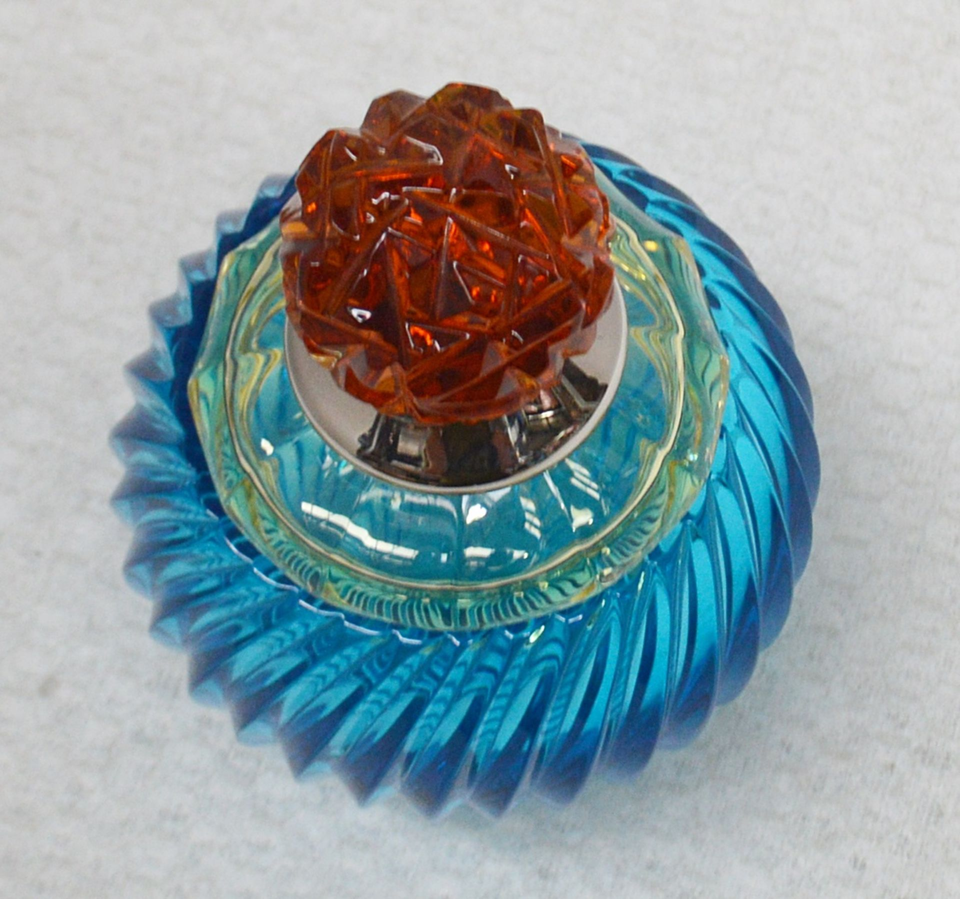 1 x BALDI 'Home Jewels' Italian Hand-crafted Artisan Small Coccinella Jar In Blue, Orange And Yellow - Image 2 of 3