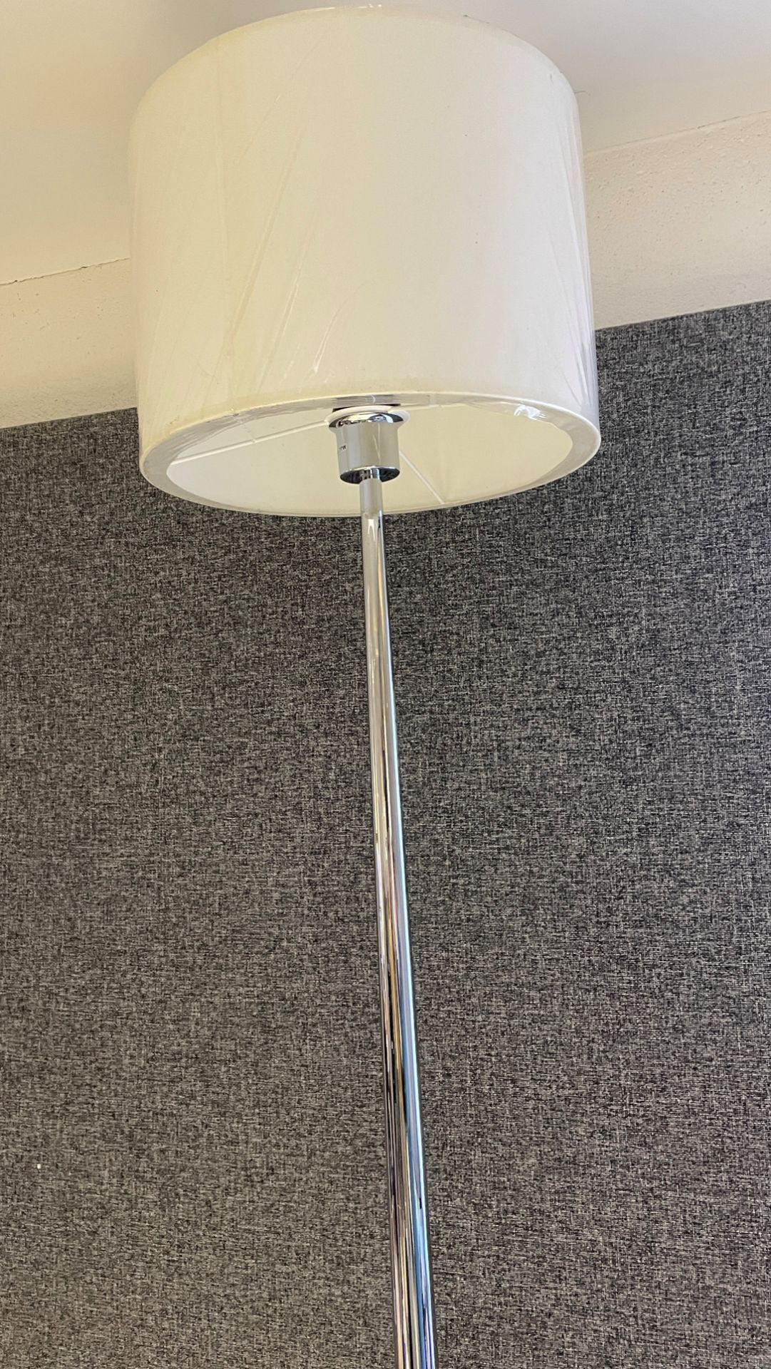 1 x Chelsom Polished Chrome Stem Floor Lamp height 155cm with Cream 31cm round shade - Ref: CHL198 - Image 3 of 10