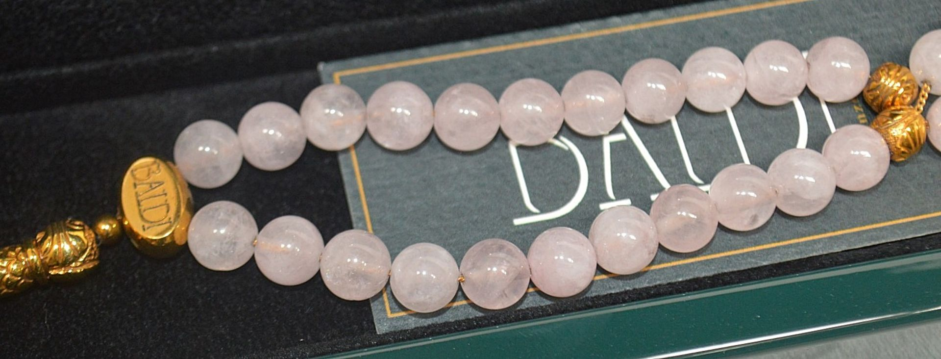 1 x BALDI 'Home Jewels' Italian Hand-crafted Artisan MISBAHA Prayer Beads In Pink Quartz And Gold - Image 4 of 5