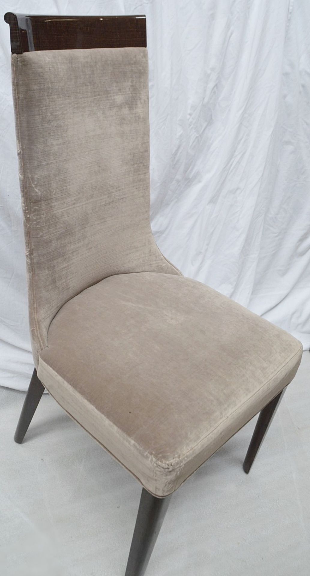 4 x GIORGIO Coliseum Velvet Upholstered Button Back Side Chairs With A Brazilian Rosewood Finish - - Image 7 of 11