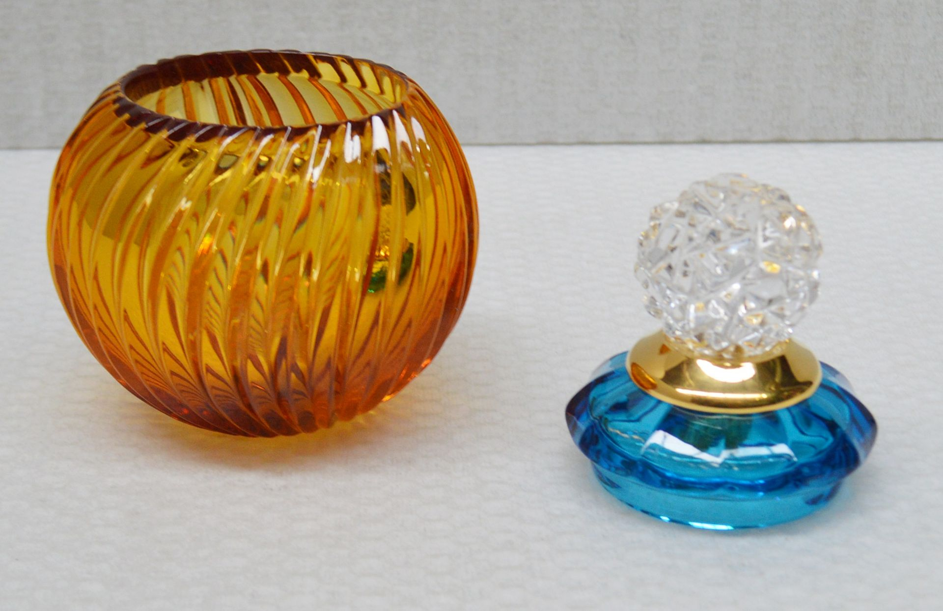 1 x BALDI 'Home Jewels' Italian Hand-crafted Artisan Small Coccinella Jar In Blue And Orange Crystal - Image 2 of 3