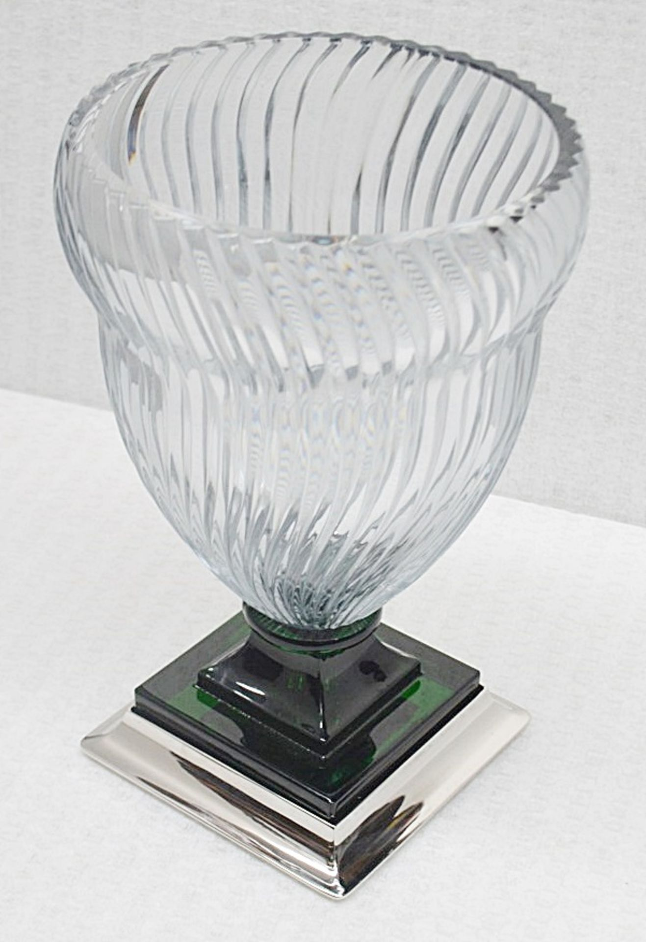 1 x BALDI 'Home Jewels' Italian Hand-crafted Artisan GHIAHDA VASE In A Green & Clear Crystal With - Image 3 of 4