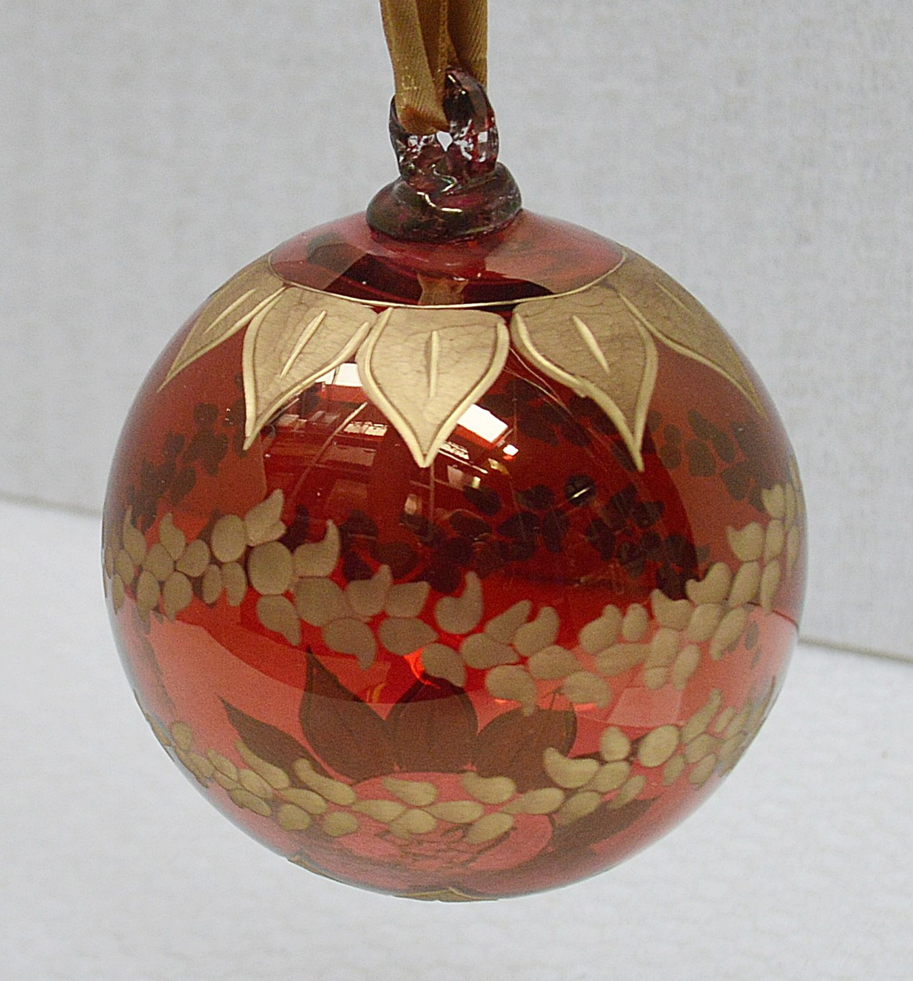 1 x BALDI 'Home Jewels' Italian Hand-crafted Artisan Christmas Tree Decoration In Red And Gold -