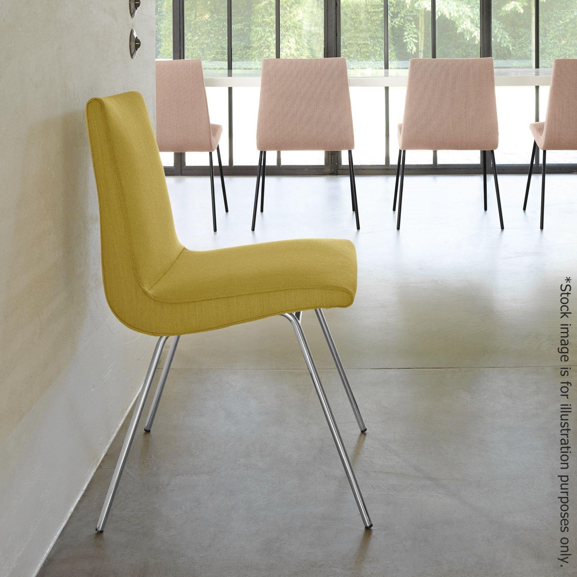 Pair Of LIGNE ROSET 'TV' Designer Dining Chairs In A Light Neutral Beige Fabric & Chromed Steel Legs