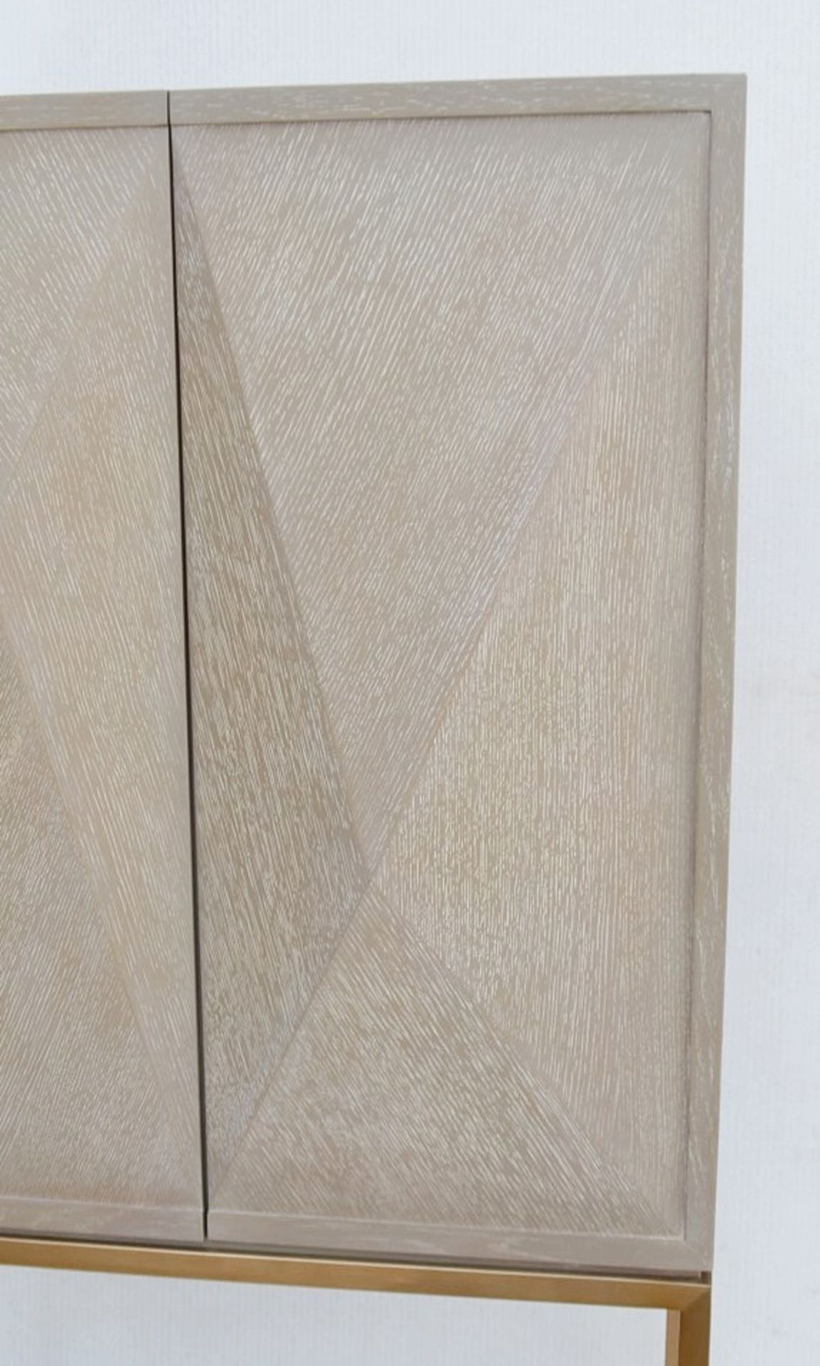 1 x EICHHOLTZ 'Delarenta' Wine Cabinet In Washed Oak And Brass - Original RRP £3,289 - Image 3 of 11