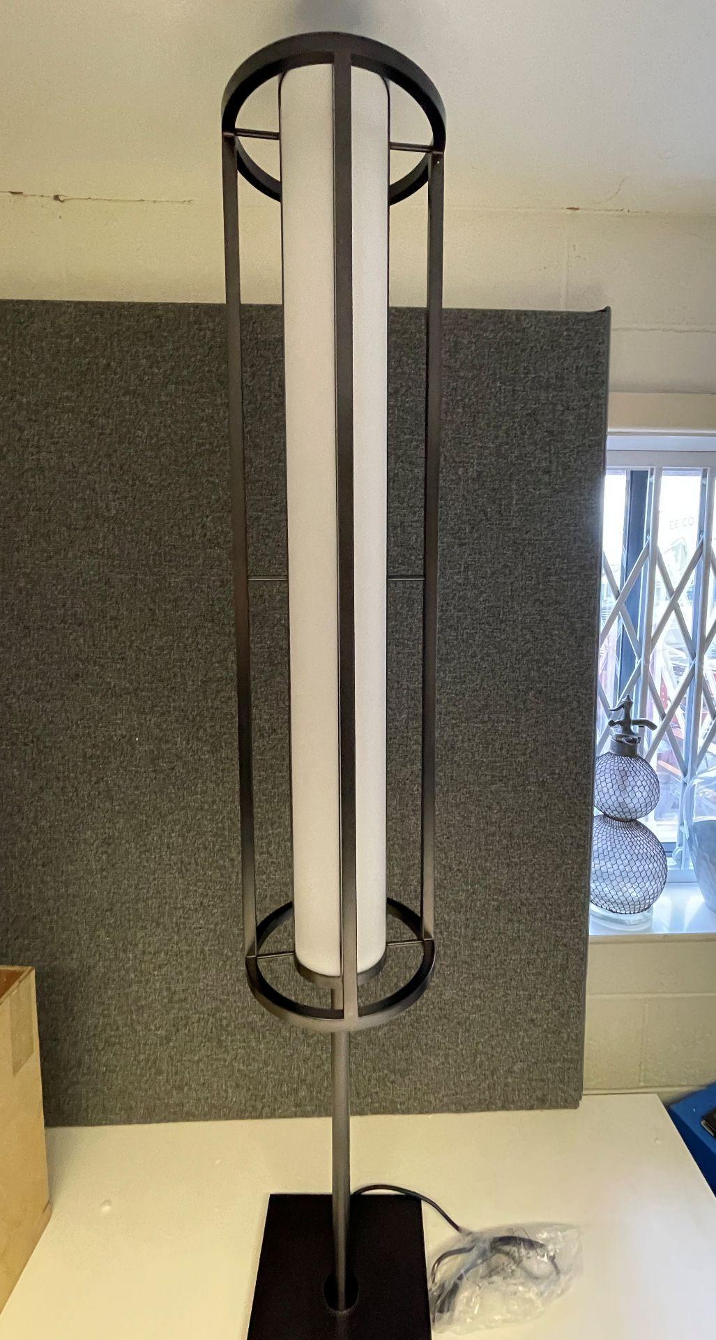 1 x Chelsom Art Deco Style Floor Lamp in Black/Bronze Height 161cm x 30cm Diameter - Ref: CHL197 -
