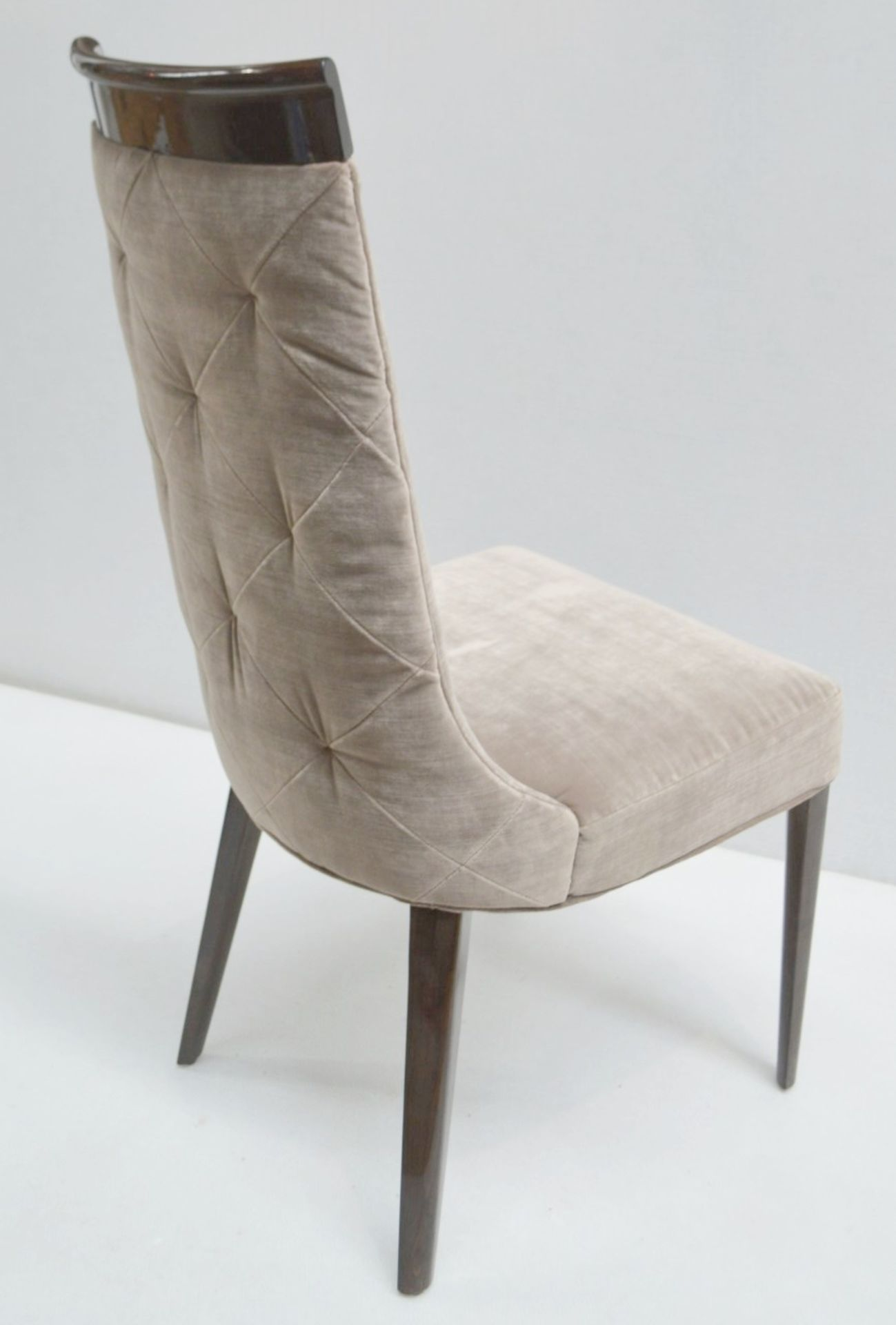 4 x GIORGIO Coliseum Velvet Upholstered Button Back Side Chairs With A Brazilian Rosewood Finish - - Image 6 of 11