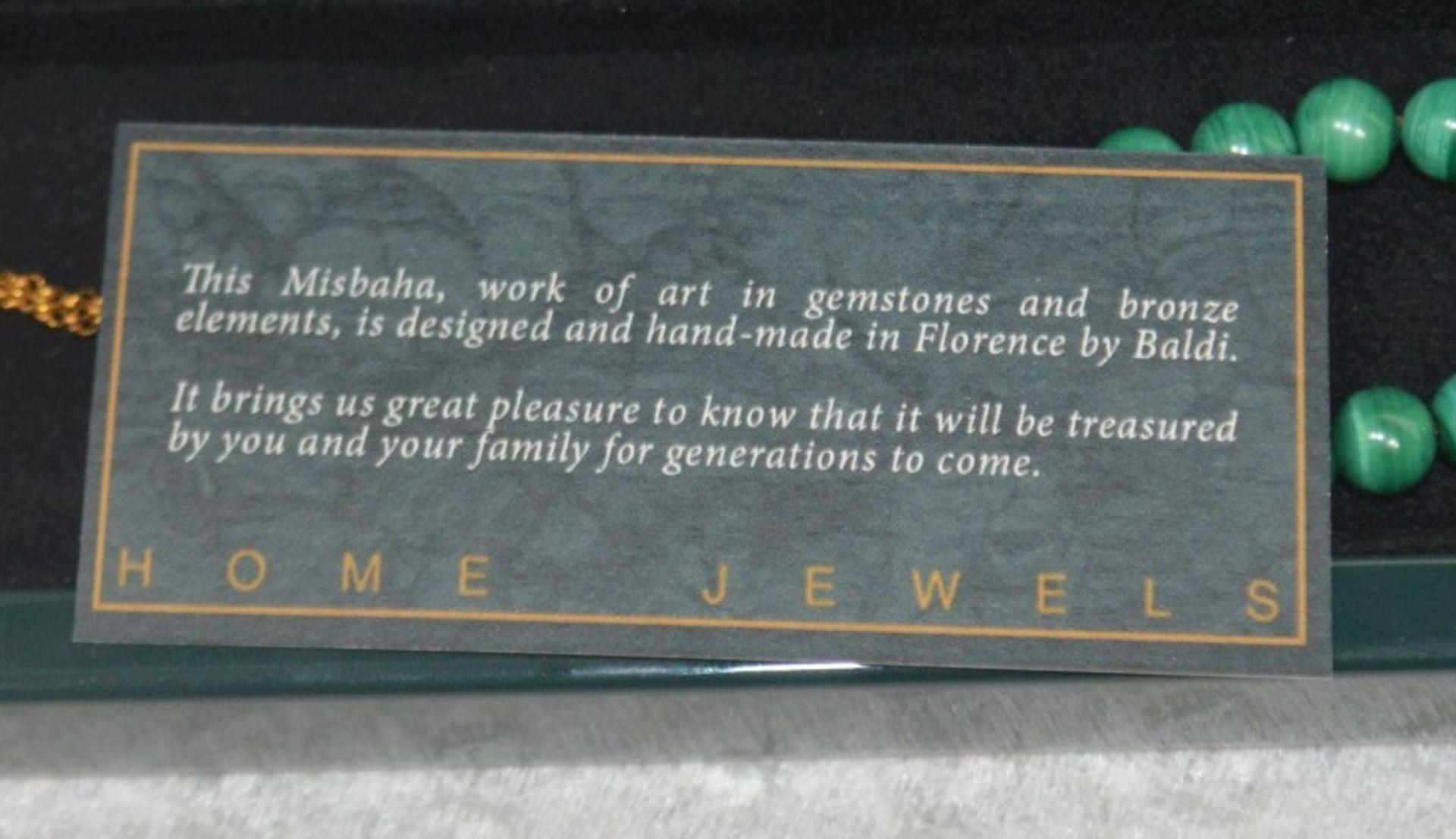 1 x BALDI 'Home Jewels' Italian Hand-crafted Artisan MISBAHA Prayer Beads In Green Malachite And - Image 5 of 5