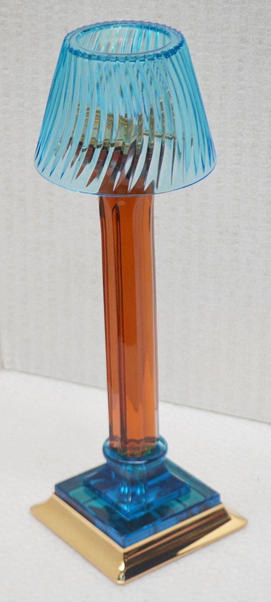 1 x BALDI 'Home Jewels' Italian Hand-crafted Candle Stick In Aquamarine & Amber Crystal - RRP £1,230